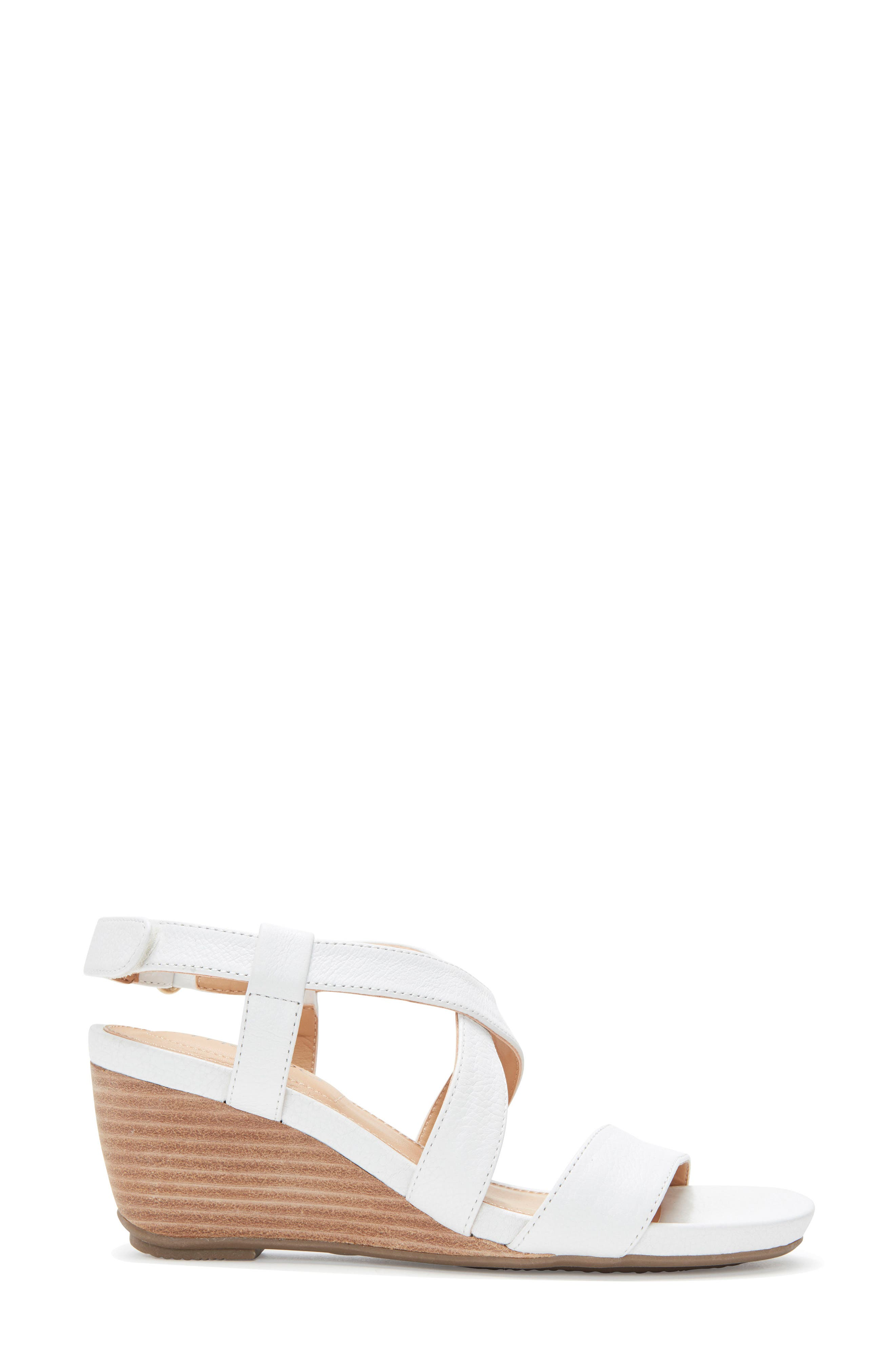 Payton Strappy Wedge,                             Alternate thumbnail 3, color,                             White Leather