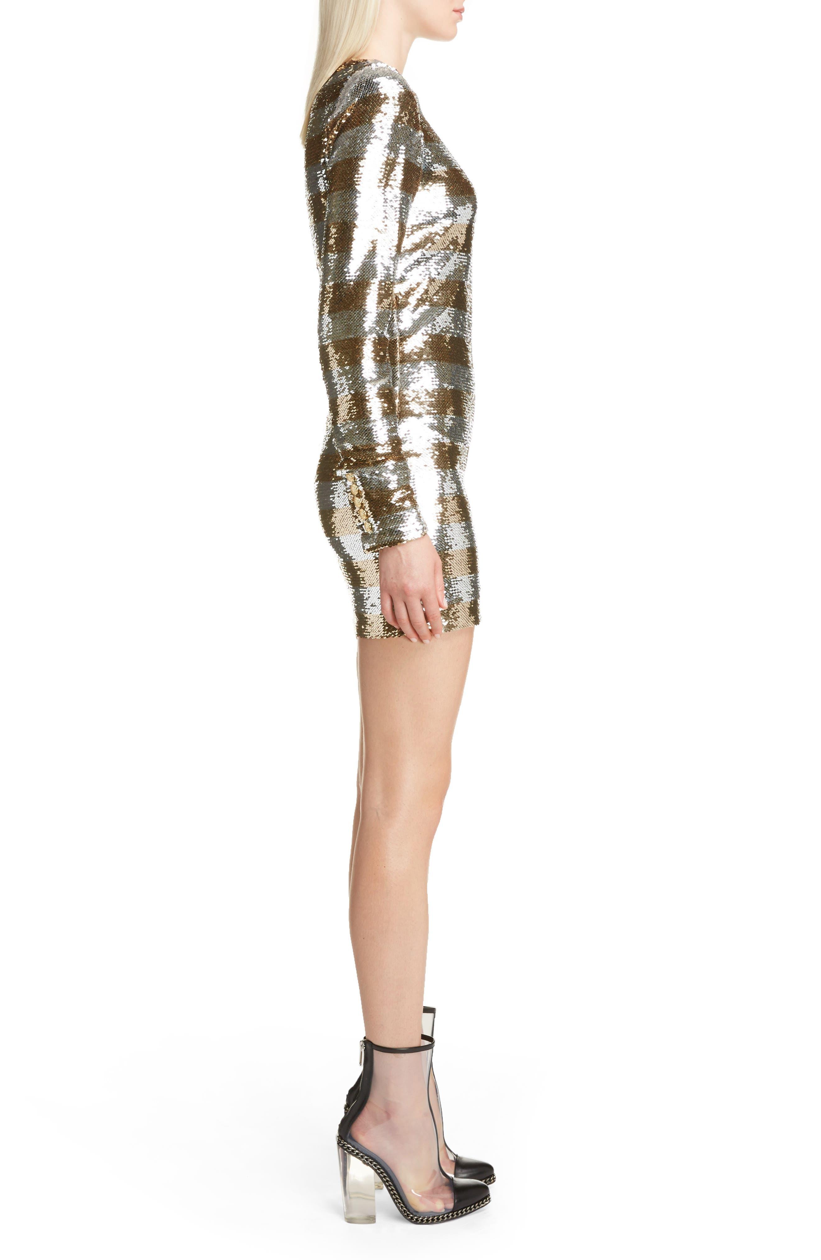 Sequin Stripe Minidress,                             Alternate thumbnail 3, color,                             Argent Dore