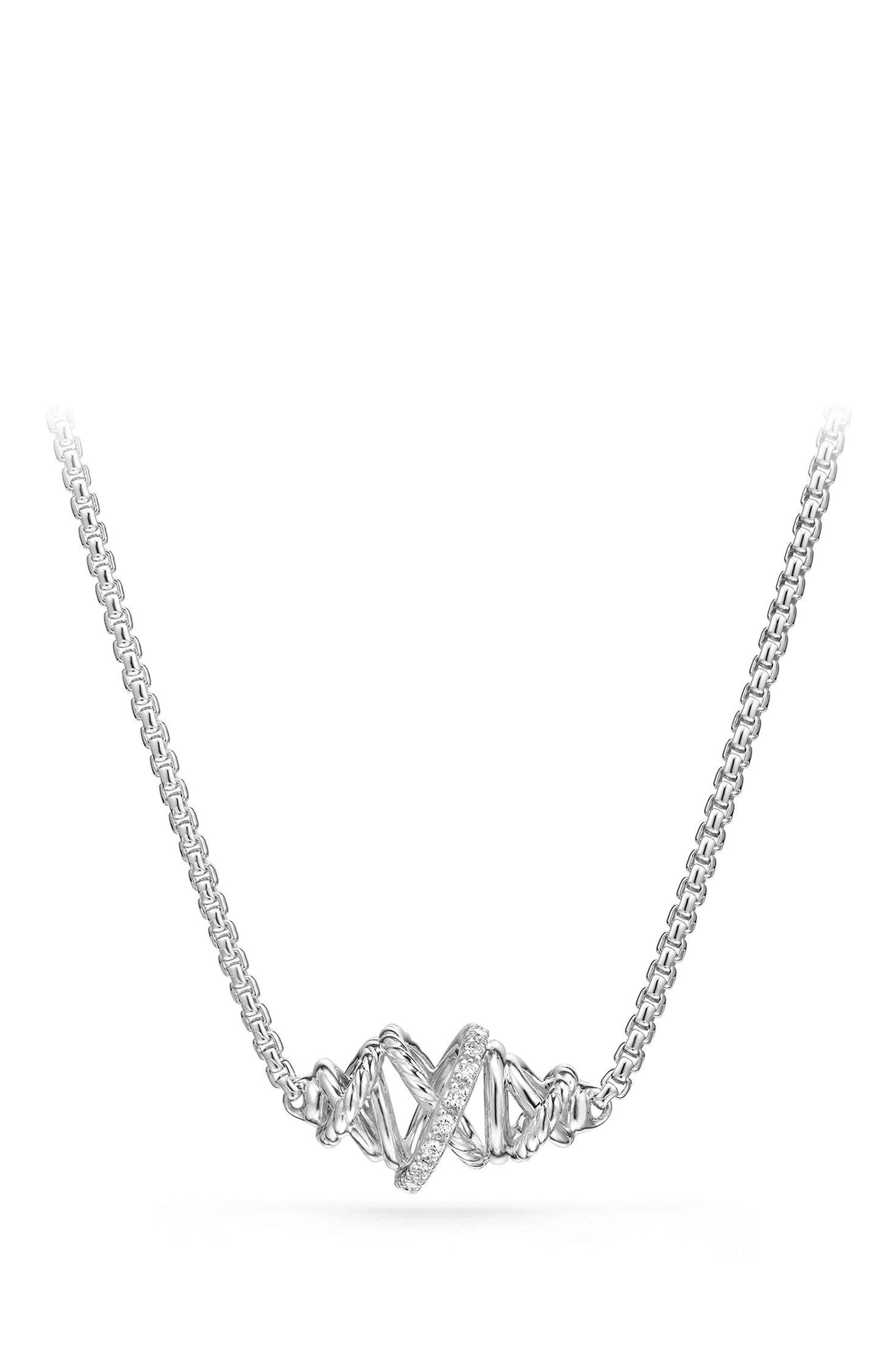 Crossover Single Station Necklace with Diamonds,                         Main,                         color, Silver