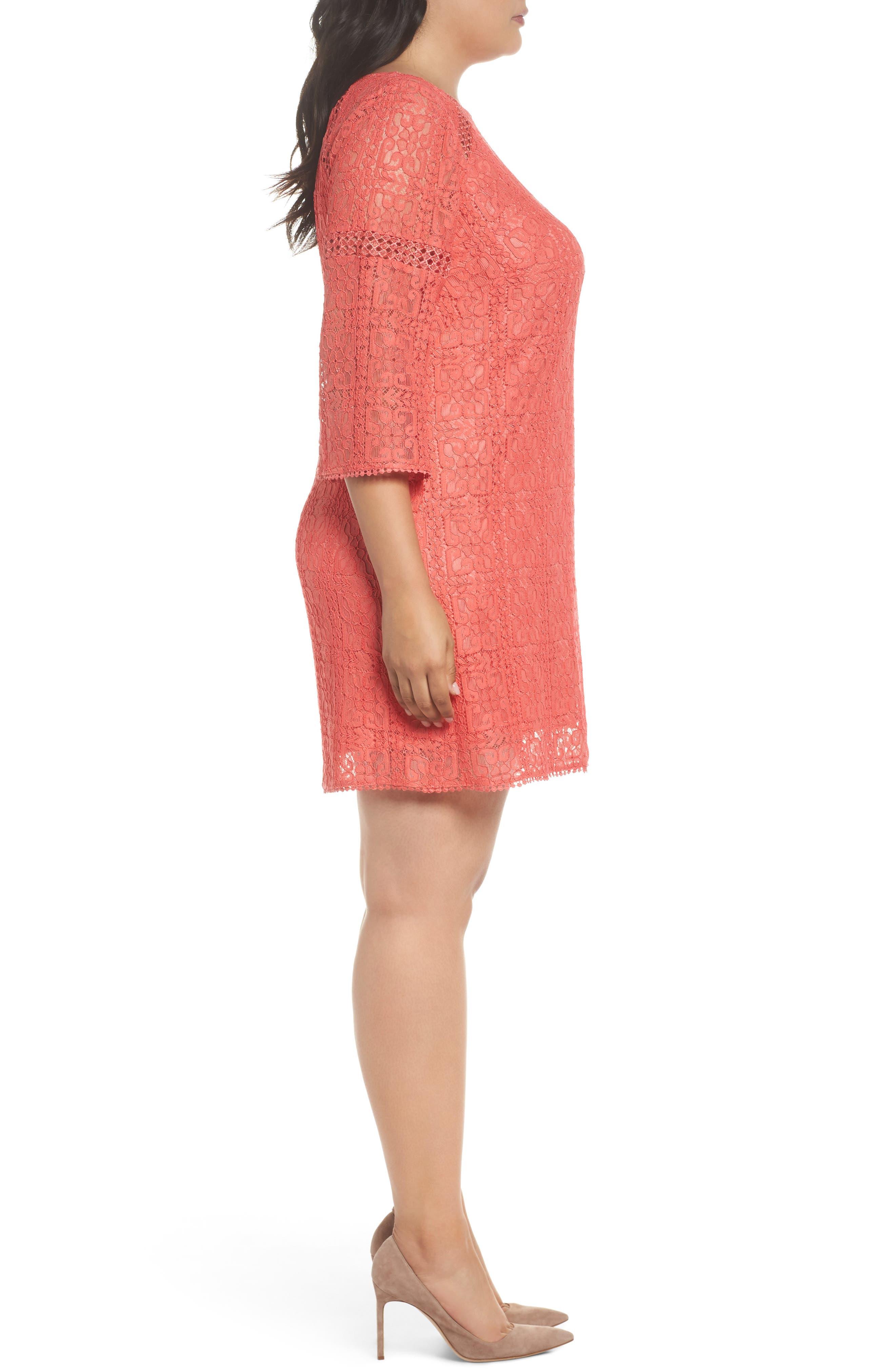 Marni Lace Shift Dress,                             Alternate thumbnail 3, color,                             Cruise Coral