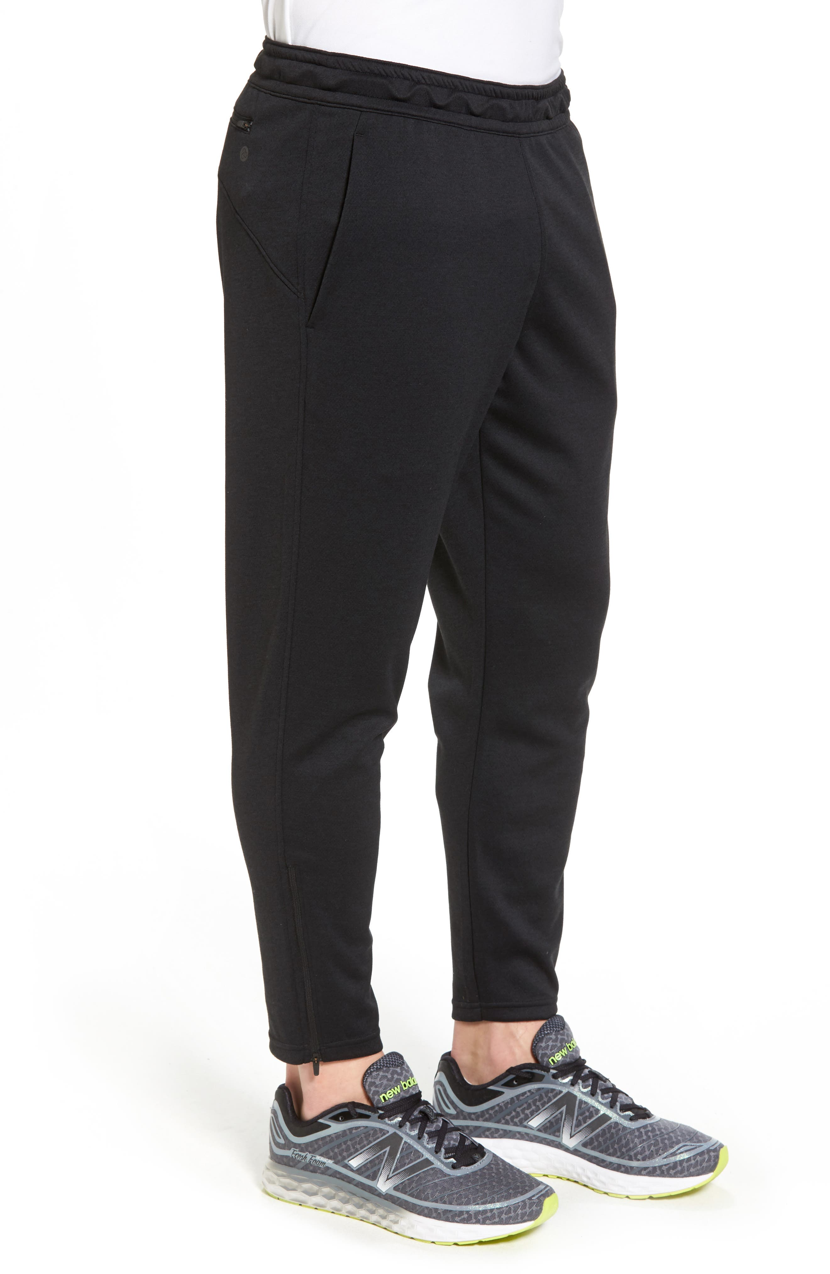 Cropped Jogger Pants,                             Alternate thumbnail 3, color,                             Black
