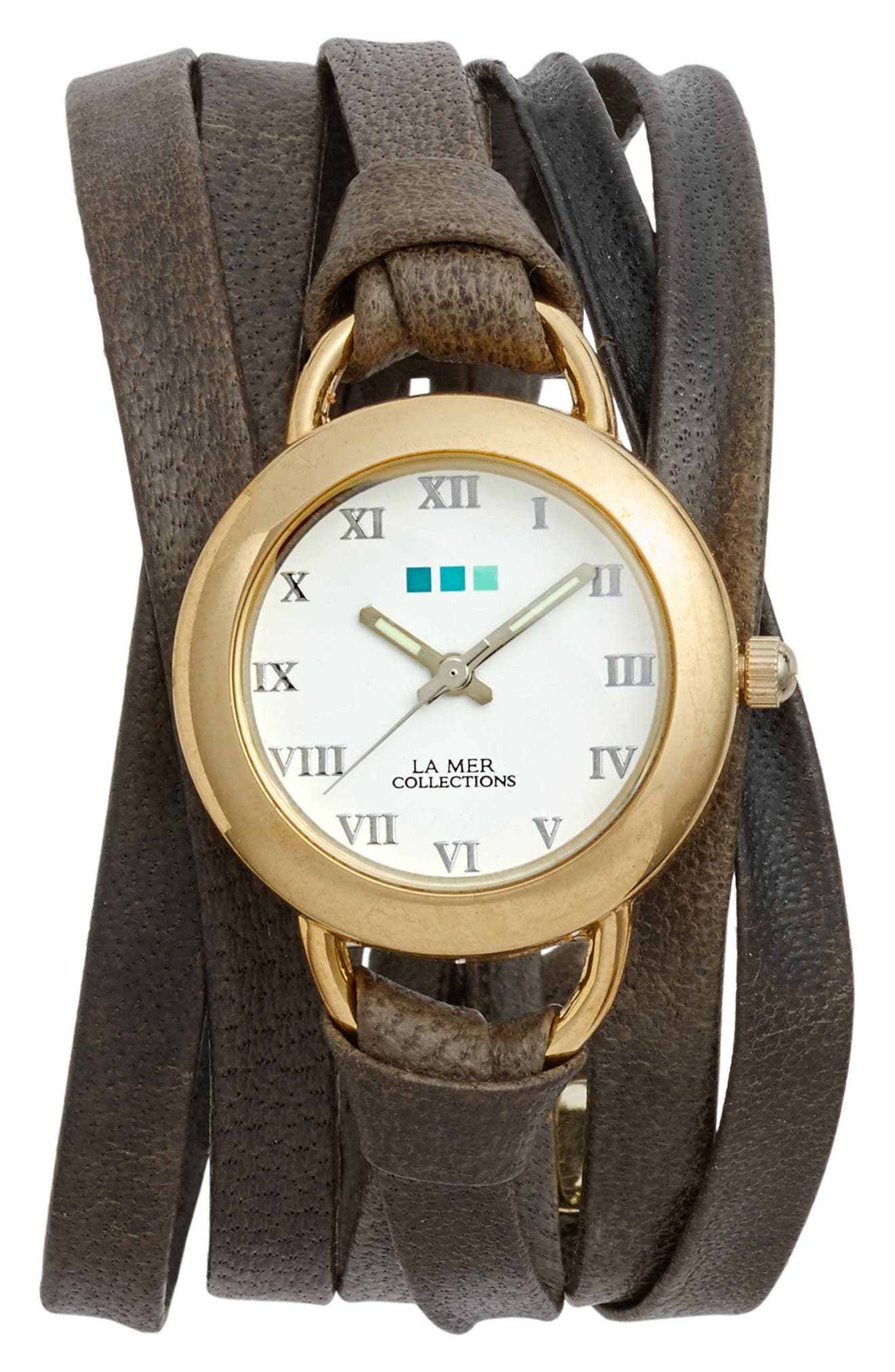 La Mer Collections Slate Saturn Leather Strap Wrap Watch, 25mm