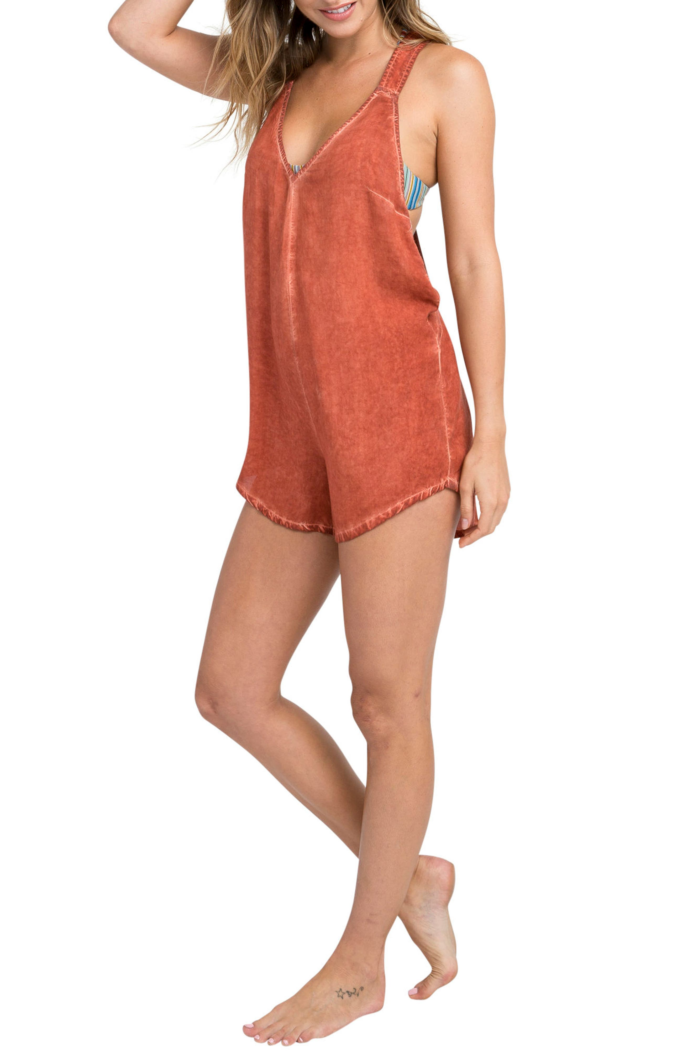 Itemized Romper,                             Alternate thumbnail 3, color,                             Red Clay