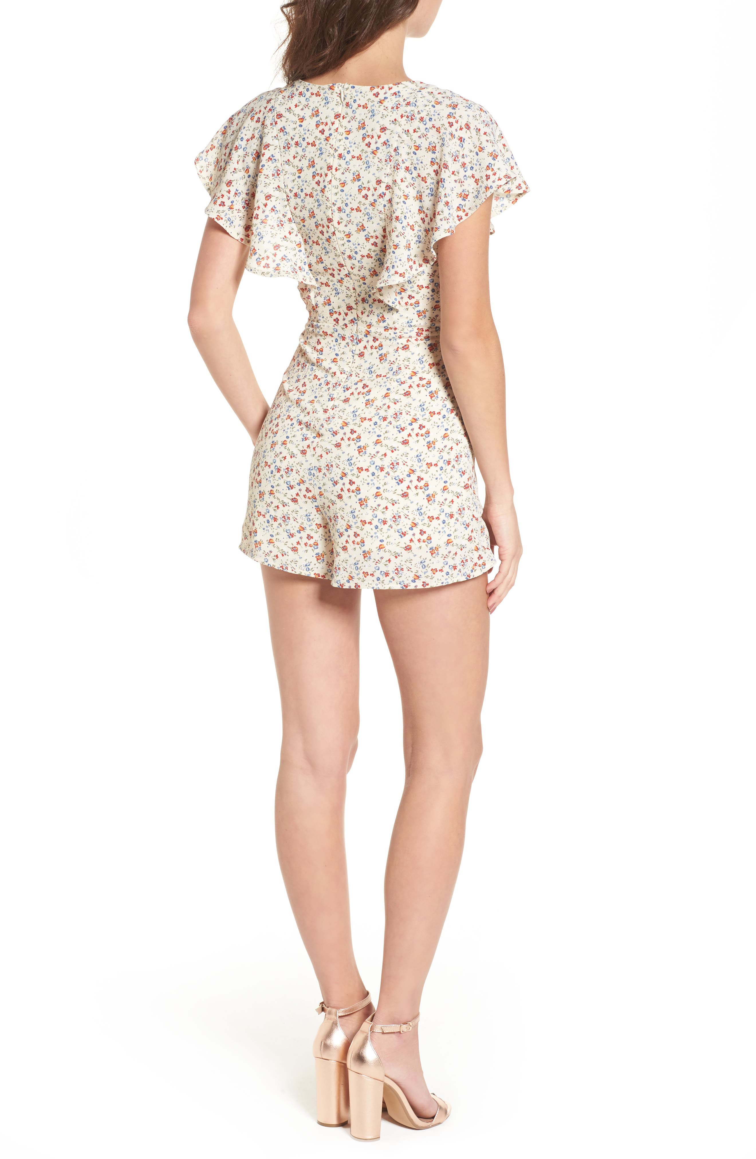Ruffle Romper,                             Alternate thumbnail 2, color,                             Taupe Floral