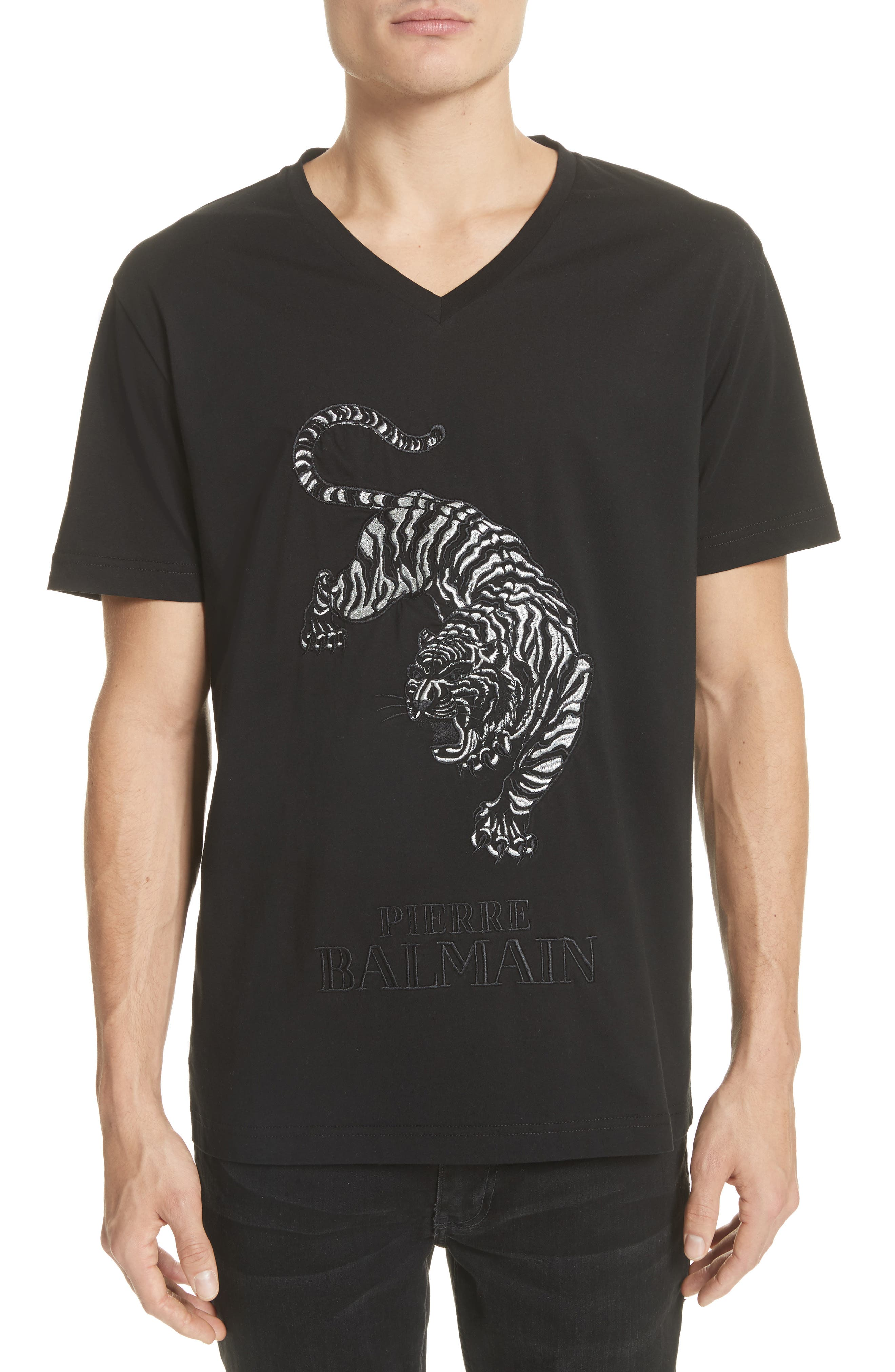 Embroidered Tiger T-Shirt,                         Main,                         color, Black