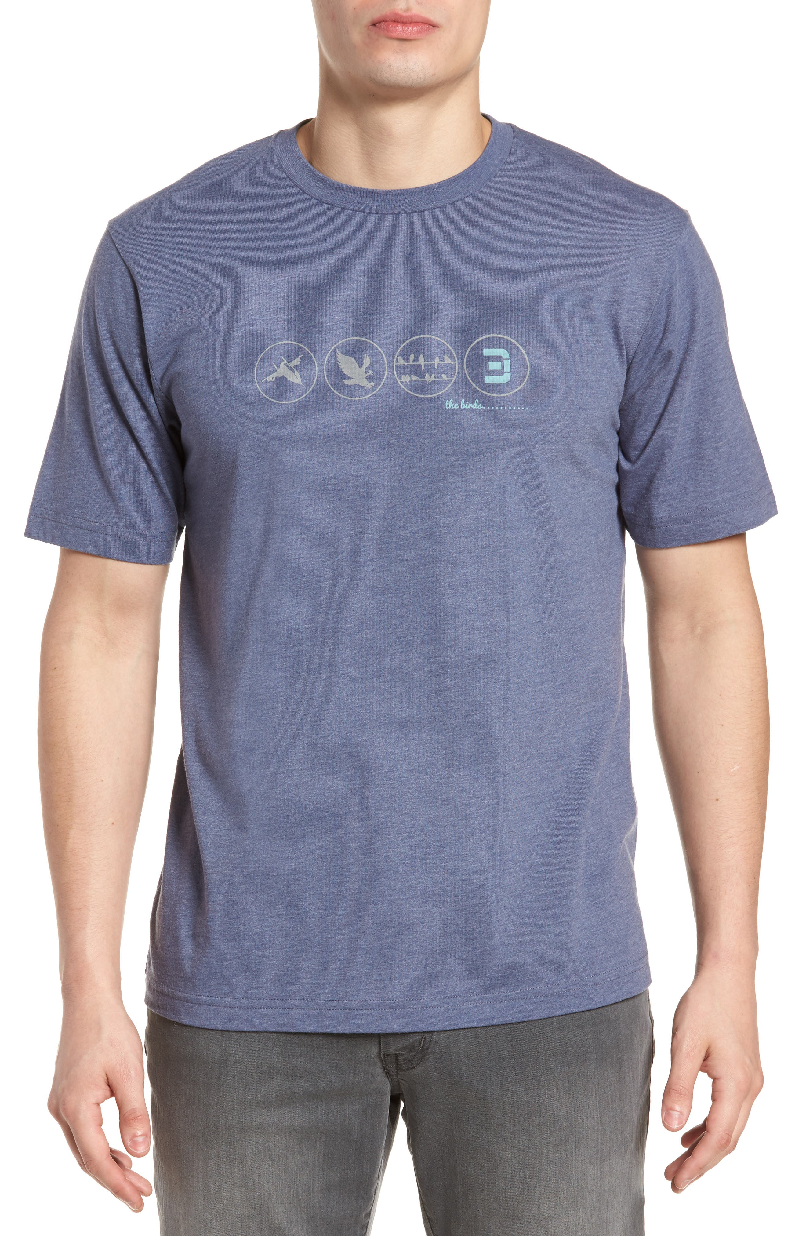The Birds Graphic T-Shirt,                         Main,                         color, Heather Blue Nights