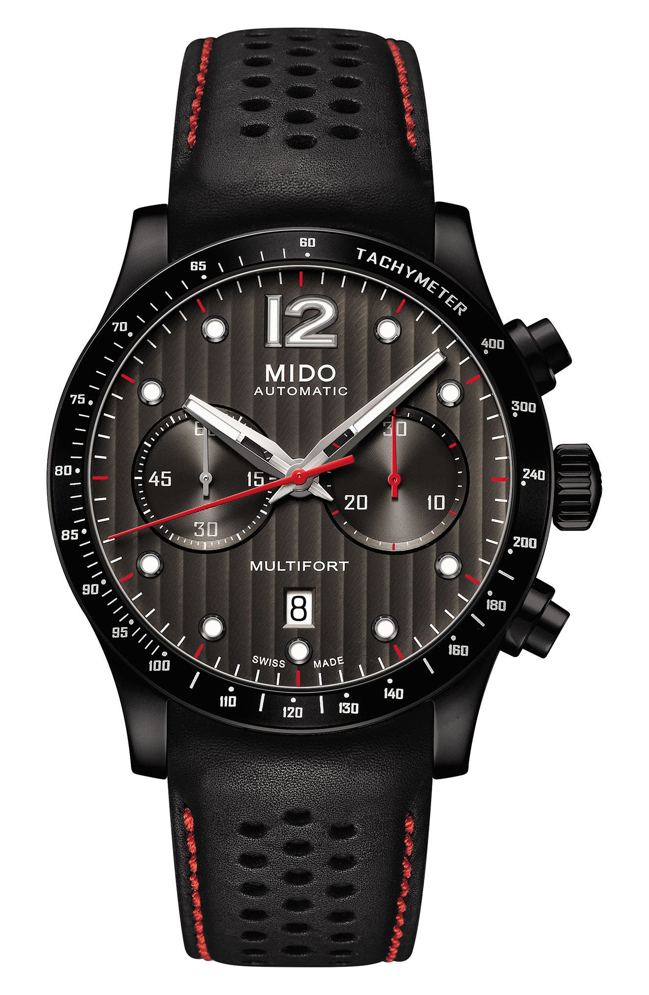 Multifort Adventure Chronograph Leather Strap Watch, 44mm,                         Main,                         color, Black