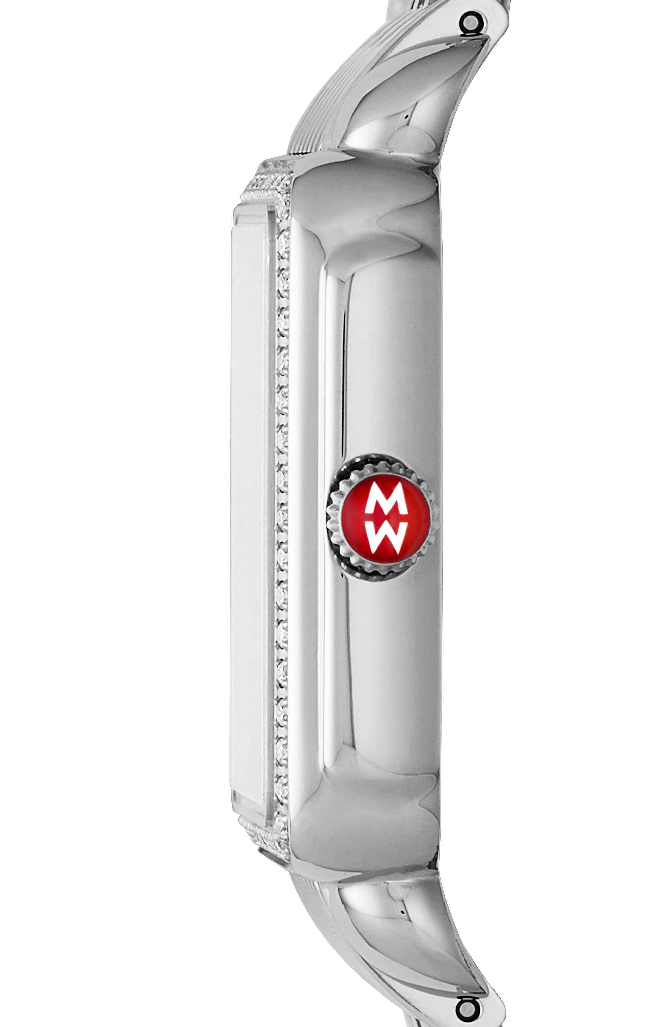 Deco II Mid Diamond Watch Head, 26mm x 27mm,                             Alternate thumbnail 2, color,                             Silver/ Champagne
