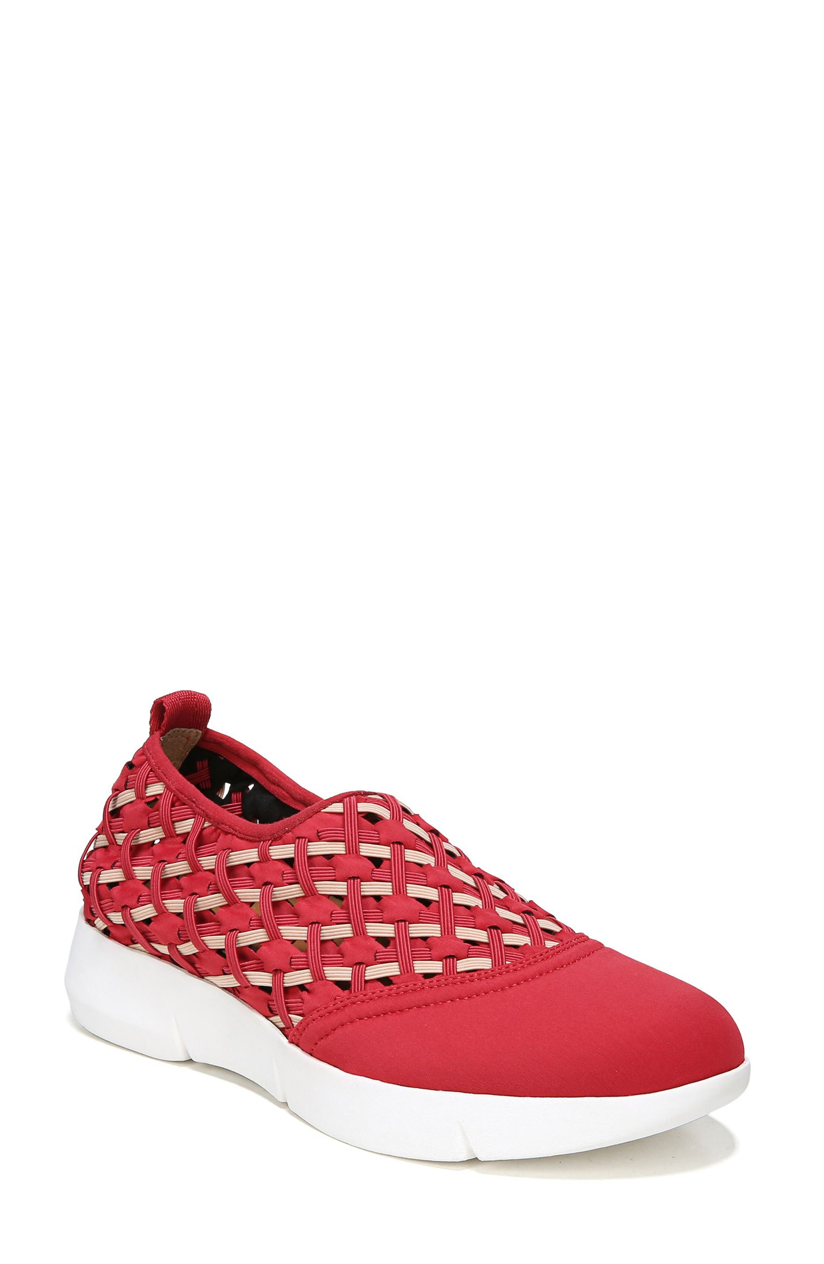 Fallan Woven Slip-On Sneaker,                             Main thumbnail 1, color,                             Deep Red Leather