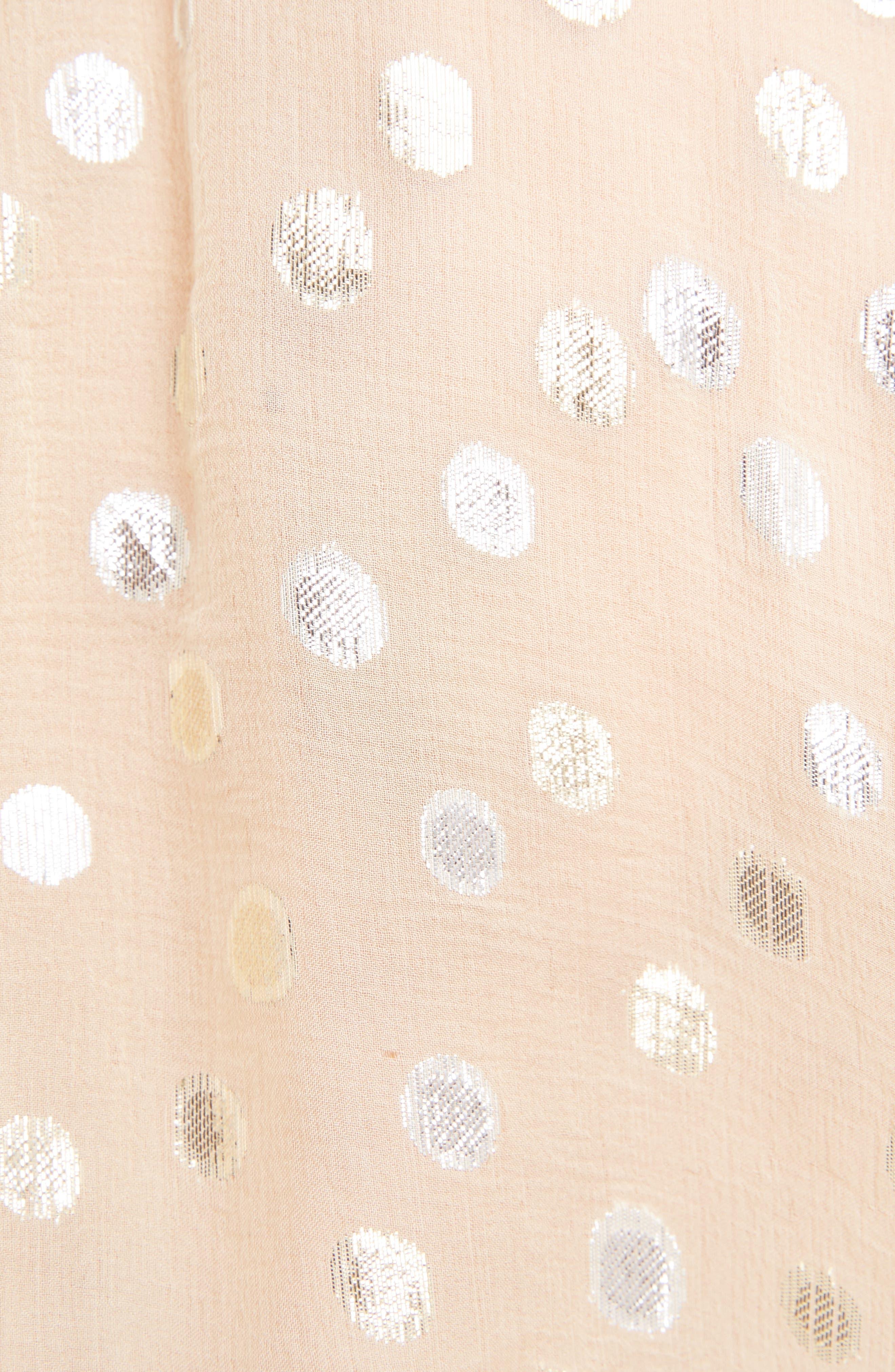 Metallic Dot Ruffled Georgette Blouse,                             Alternate thumbnail 7, color,                             Beige/ Or