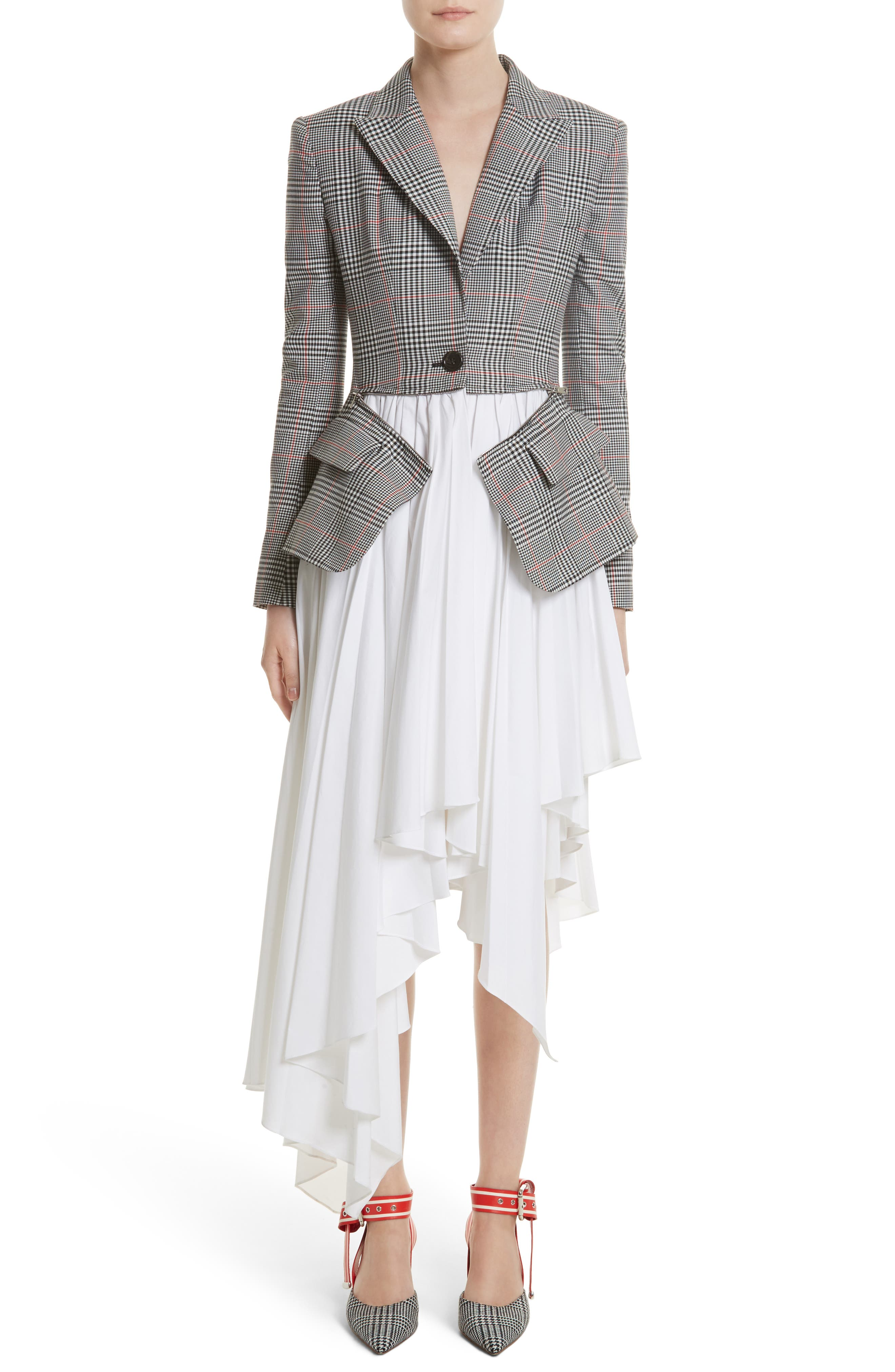 Glen Plaid Jacket Dress,                             Main thumbnail 1, color,                             Black