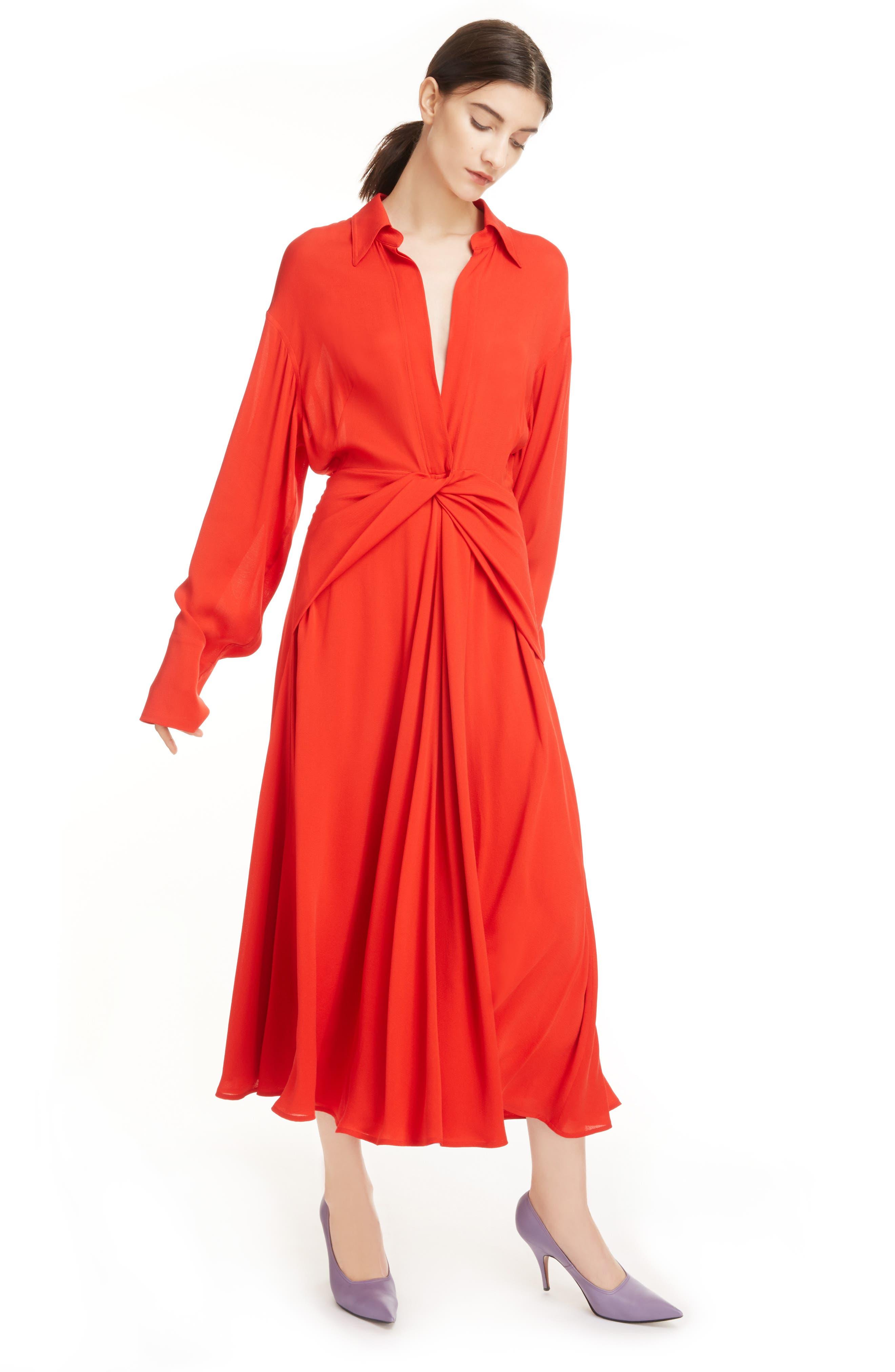 Twist Waist Silk Dress,                             Alternate thumbnail 2, color,                             Bright Red