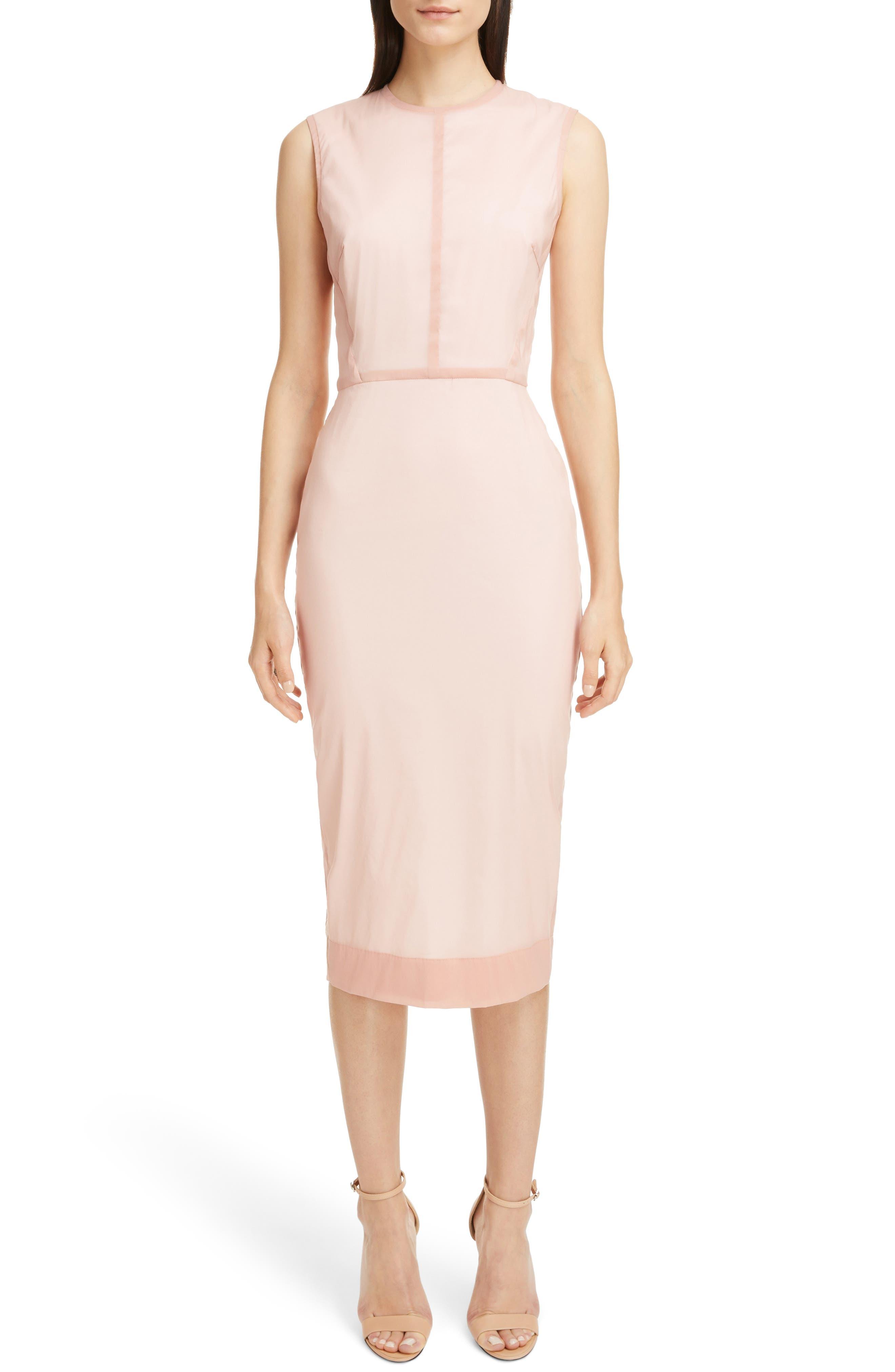 Stretch Silk Organza Sheath Dress,                         Main,                         color, Dusty Pink