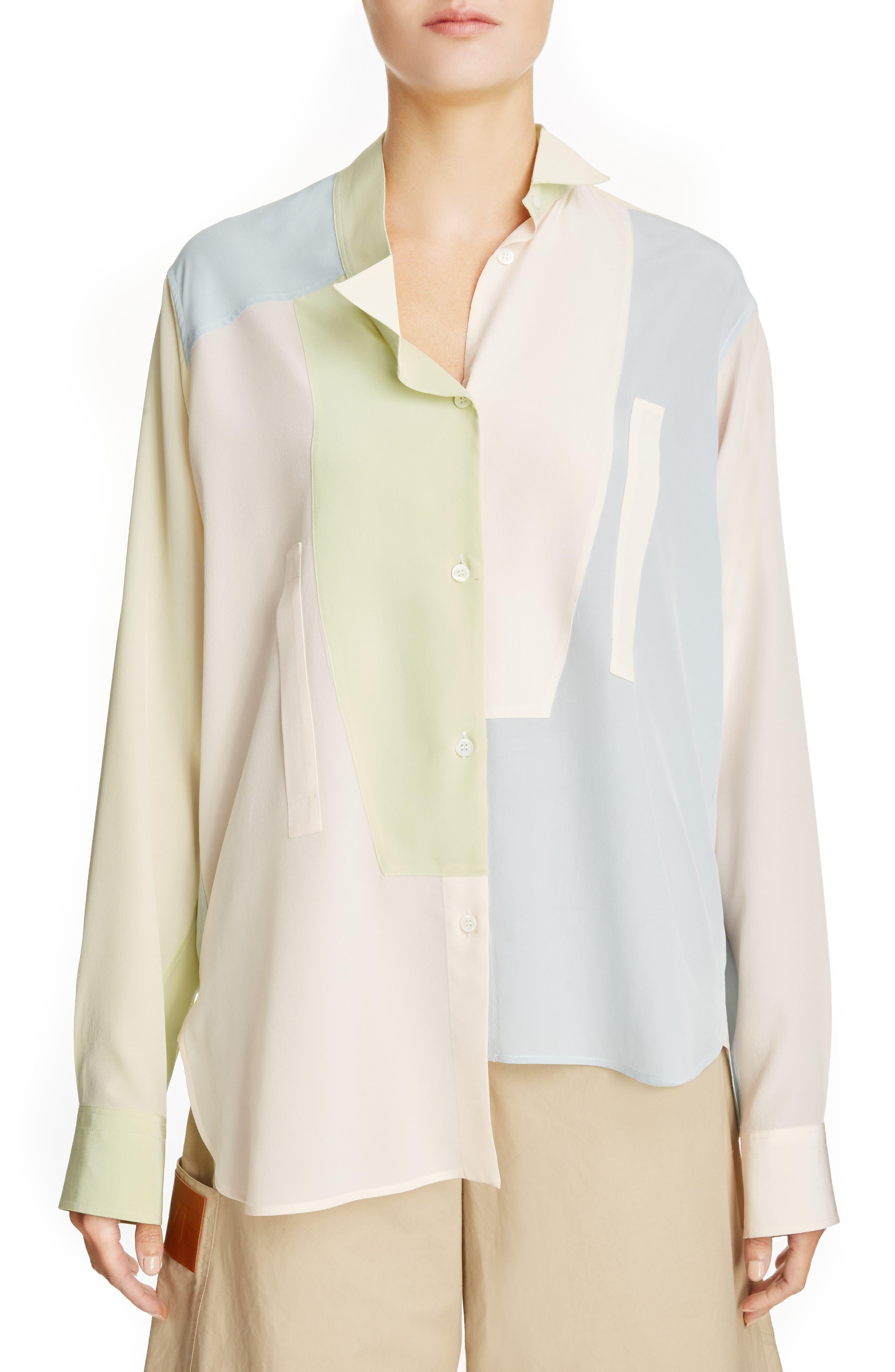 Asymmetrical Patchwork Silk Shirt,                             Main thumbnail 1, color,                             Multicolor