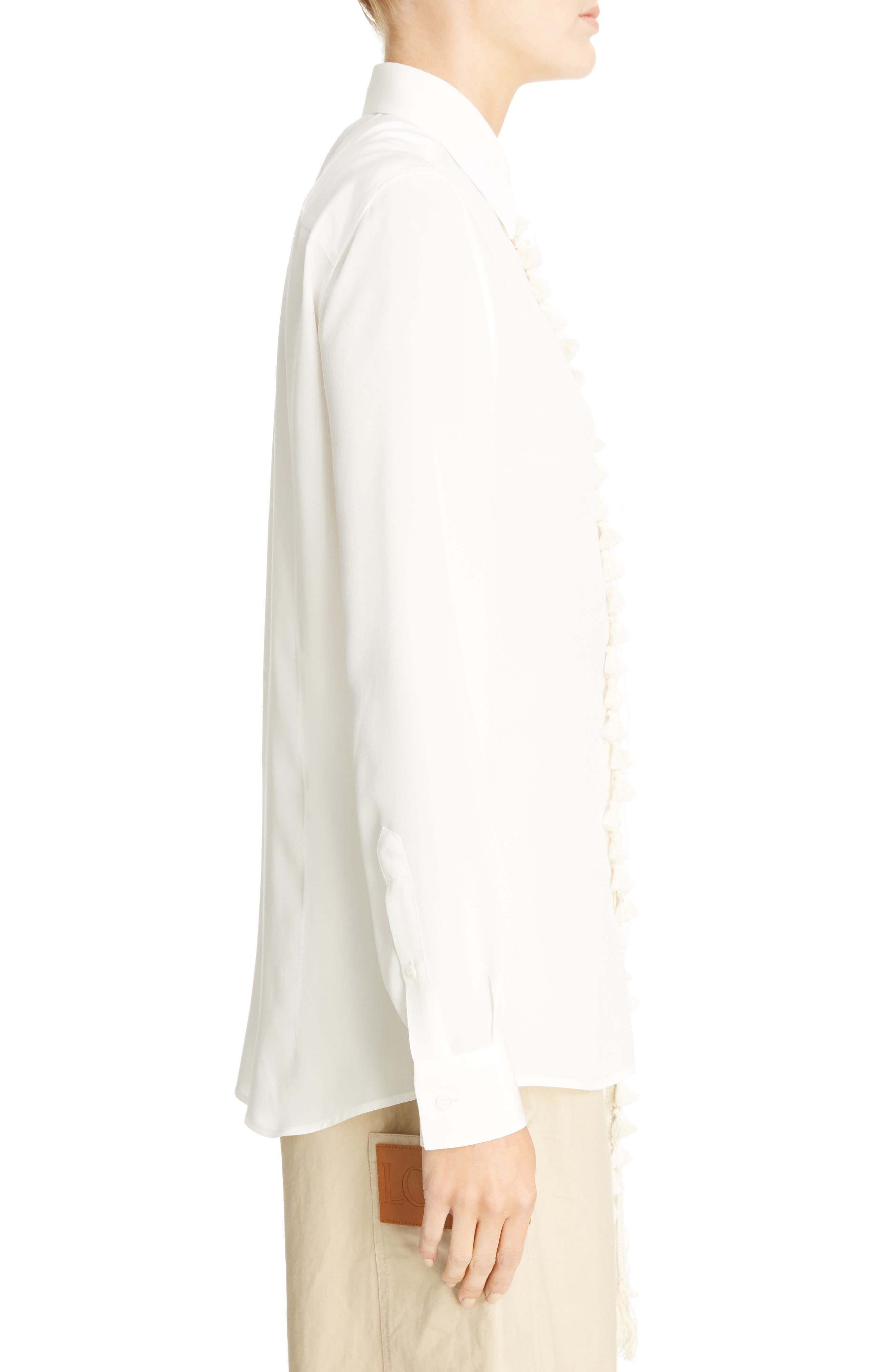 Tassel Placket Silk Shirt,                             Alternate thumbnail 3, color,                             White