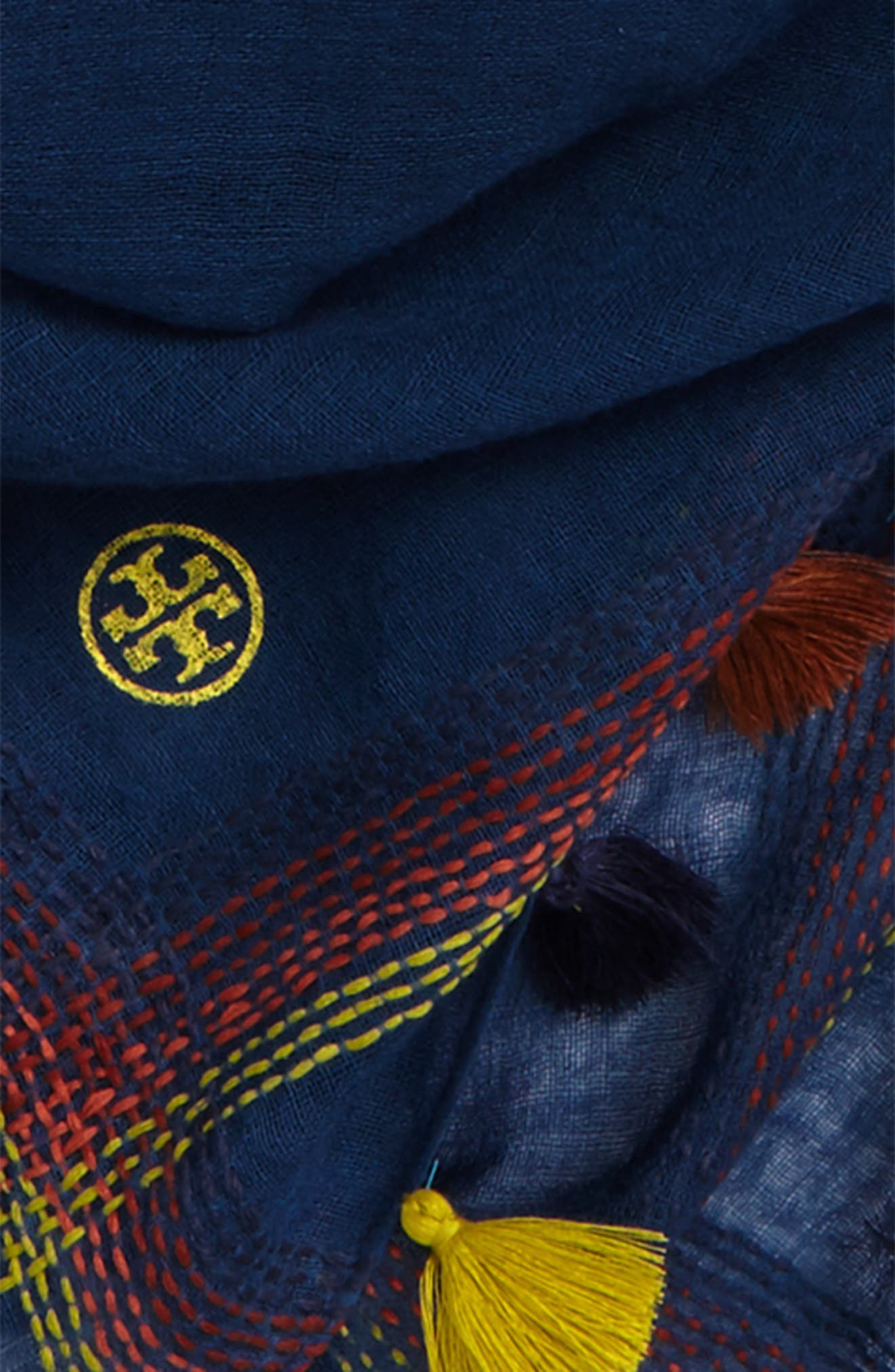 Alternate Image 3  - Tory Burch Embroidered Tassel Trim Wool Scarf