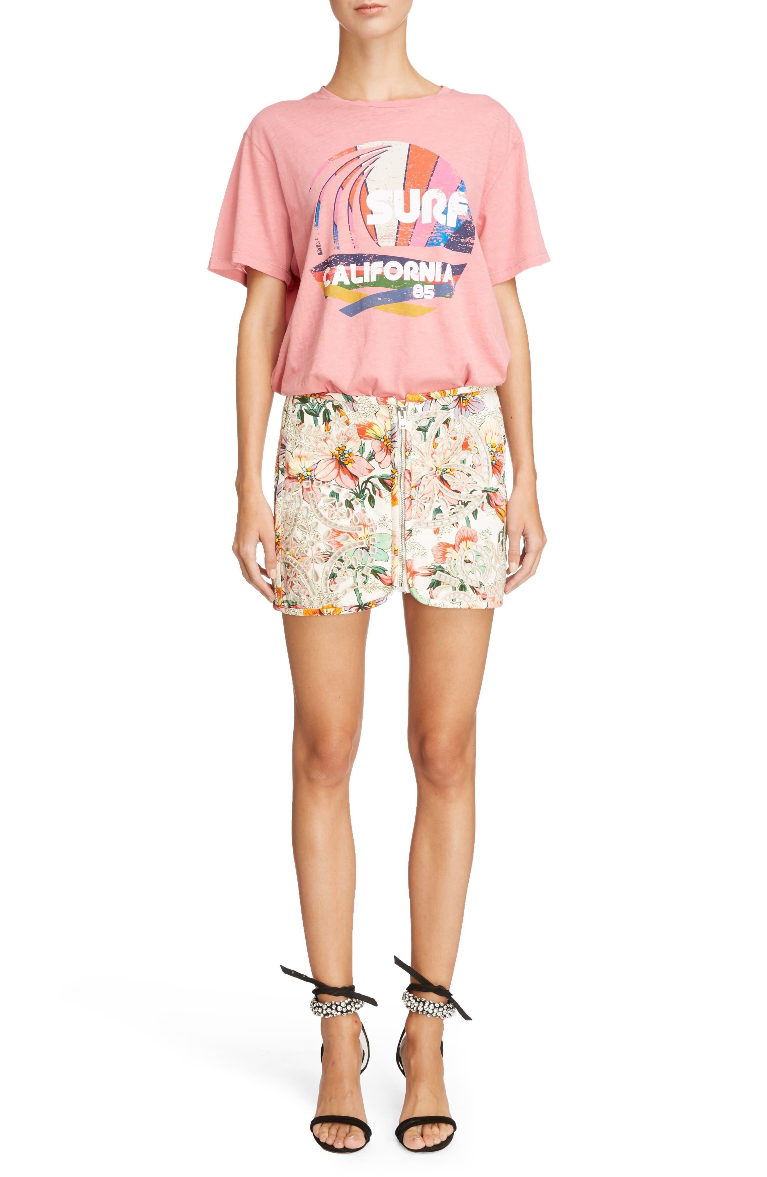 Hawaiian Print Miniskirt,                             Alternate thumbnail 2, color,                             Ecru
