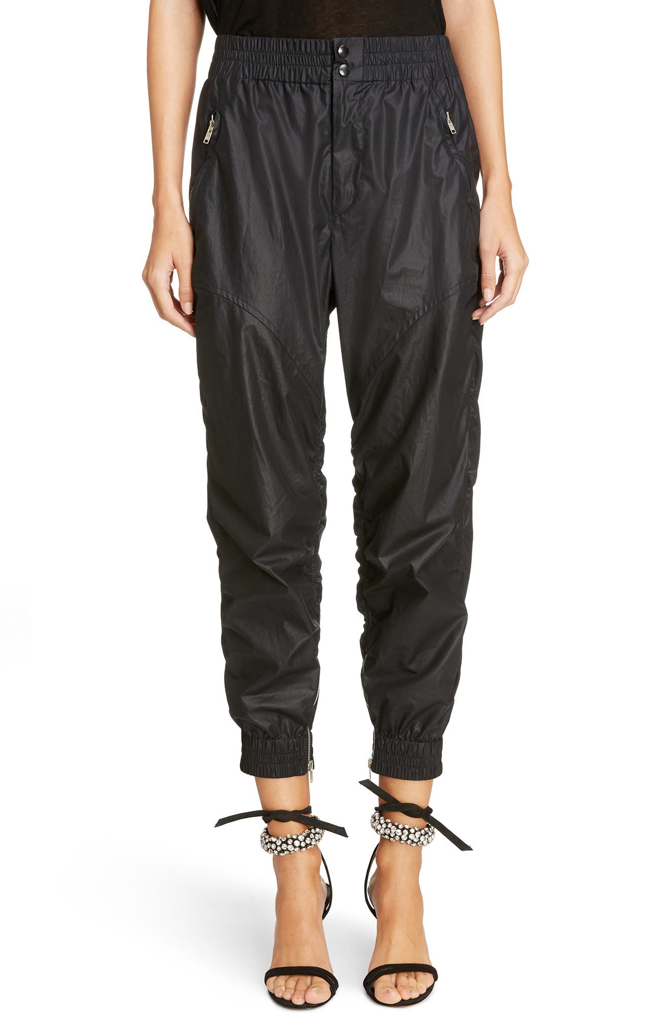 Coated Crop Jogger Pants,                             Main thumbnail 1, color,                             Black