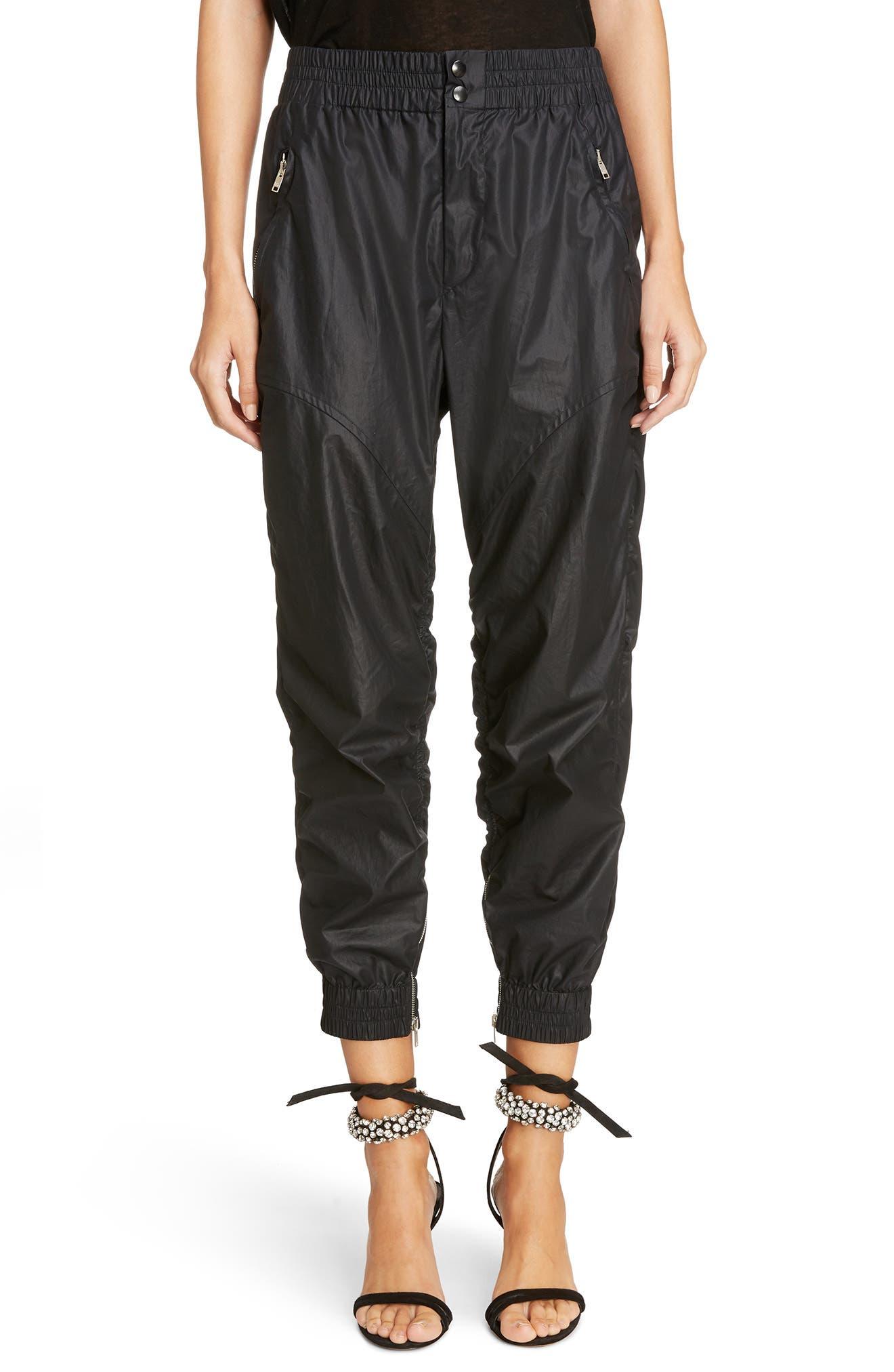 Coated Crop Jogger Pants,                         Main,                         color, Black