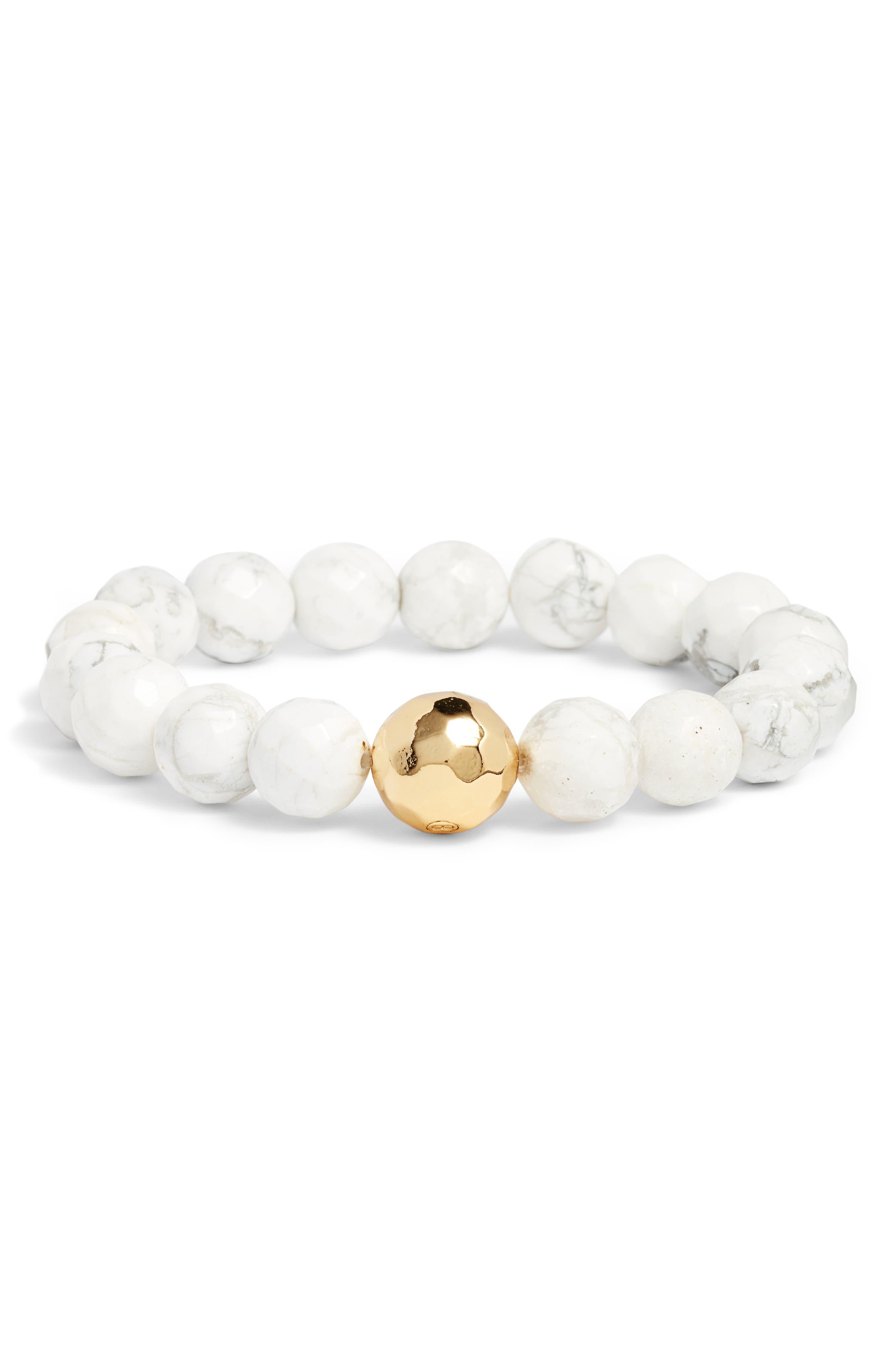 Power Gemstone Howlite for Calming Bracelet,                             Main thumbnail 1, color,                             Howlite/ Gold
