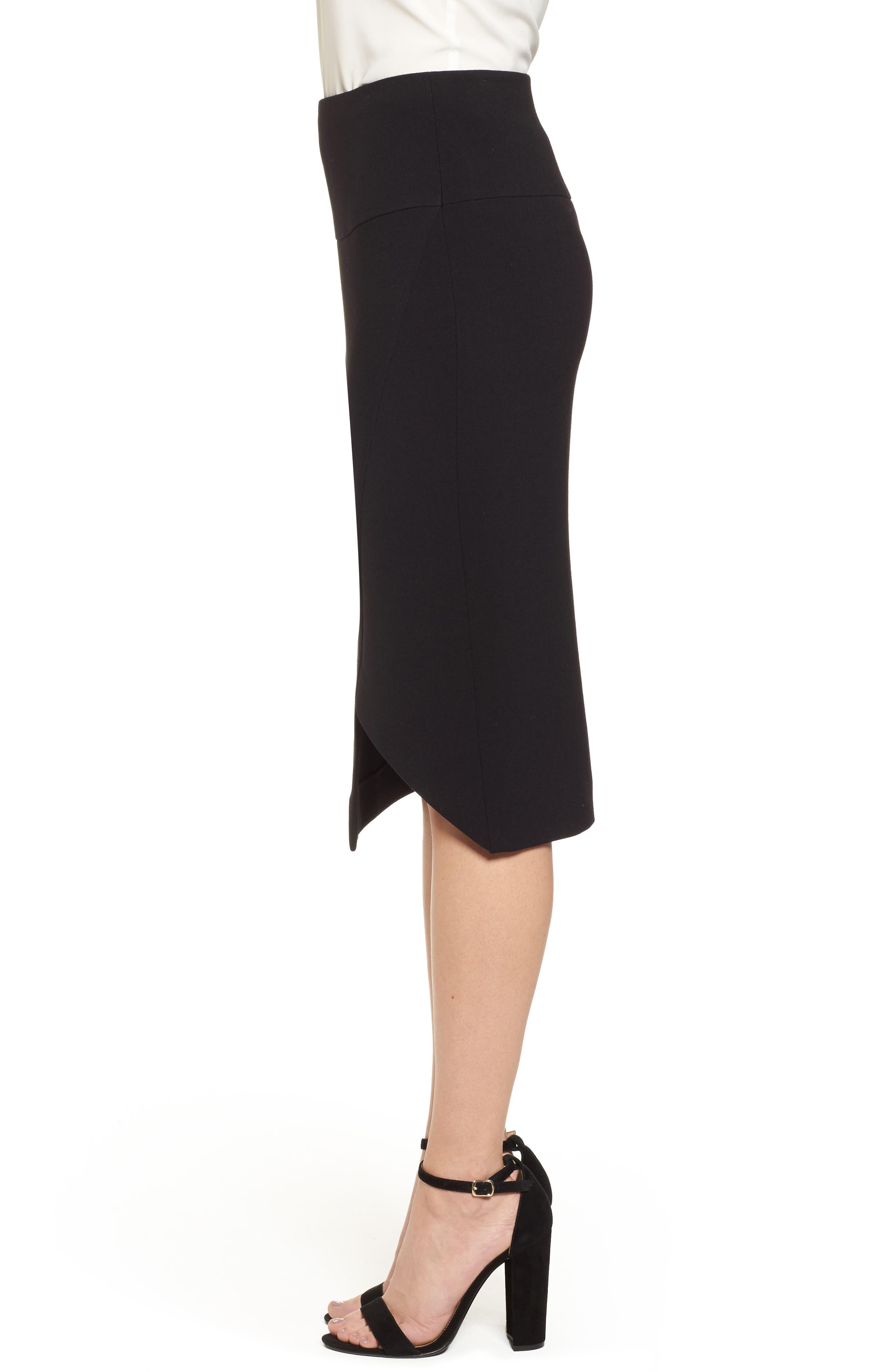 Asymmetrical Pencil Skirt,                             Alternate thumbnail 3, color,                             Black