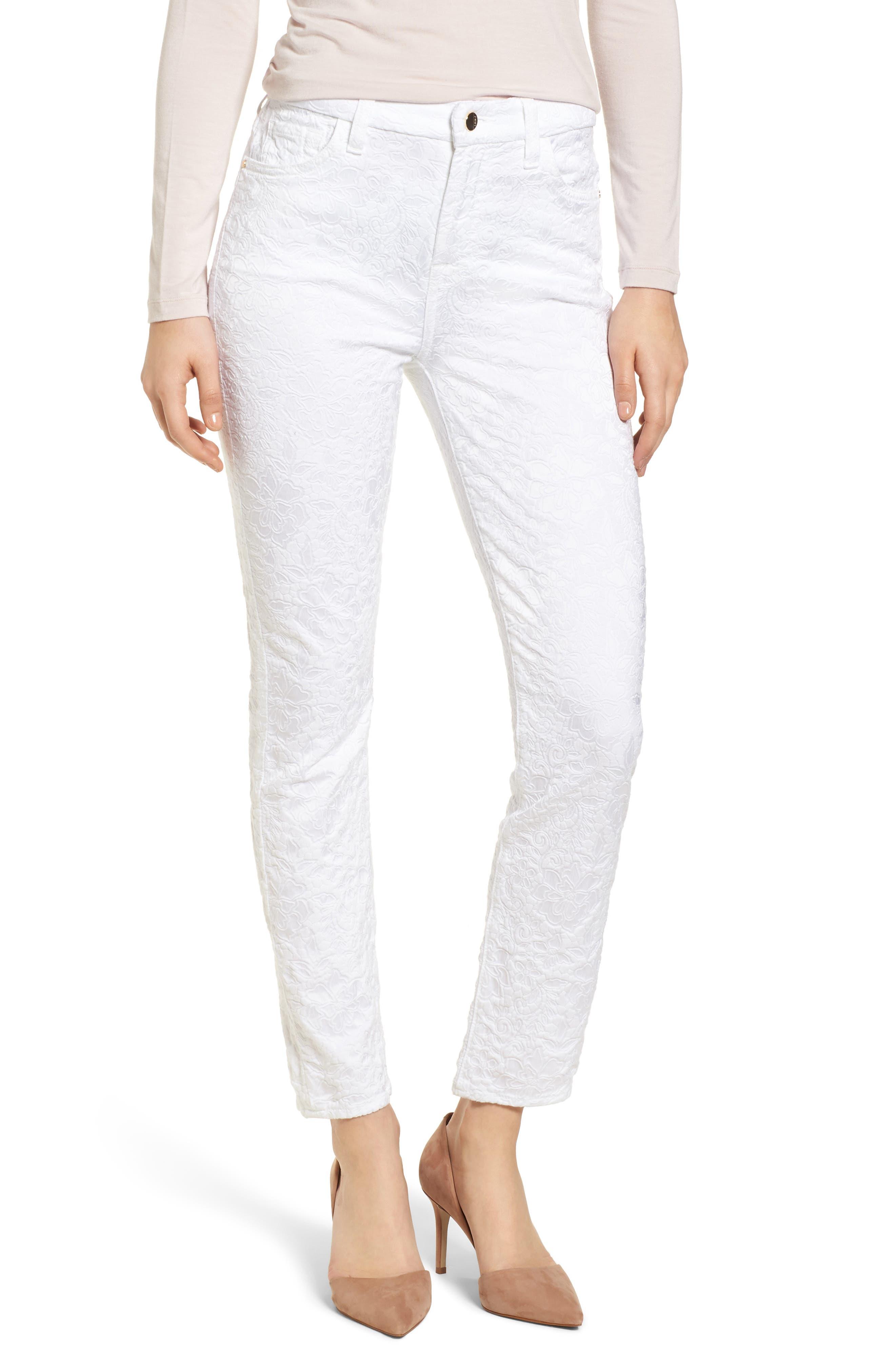 Jacquard Ankle Skinny Jeans,                             Main thumbnail 1, color,                             White