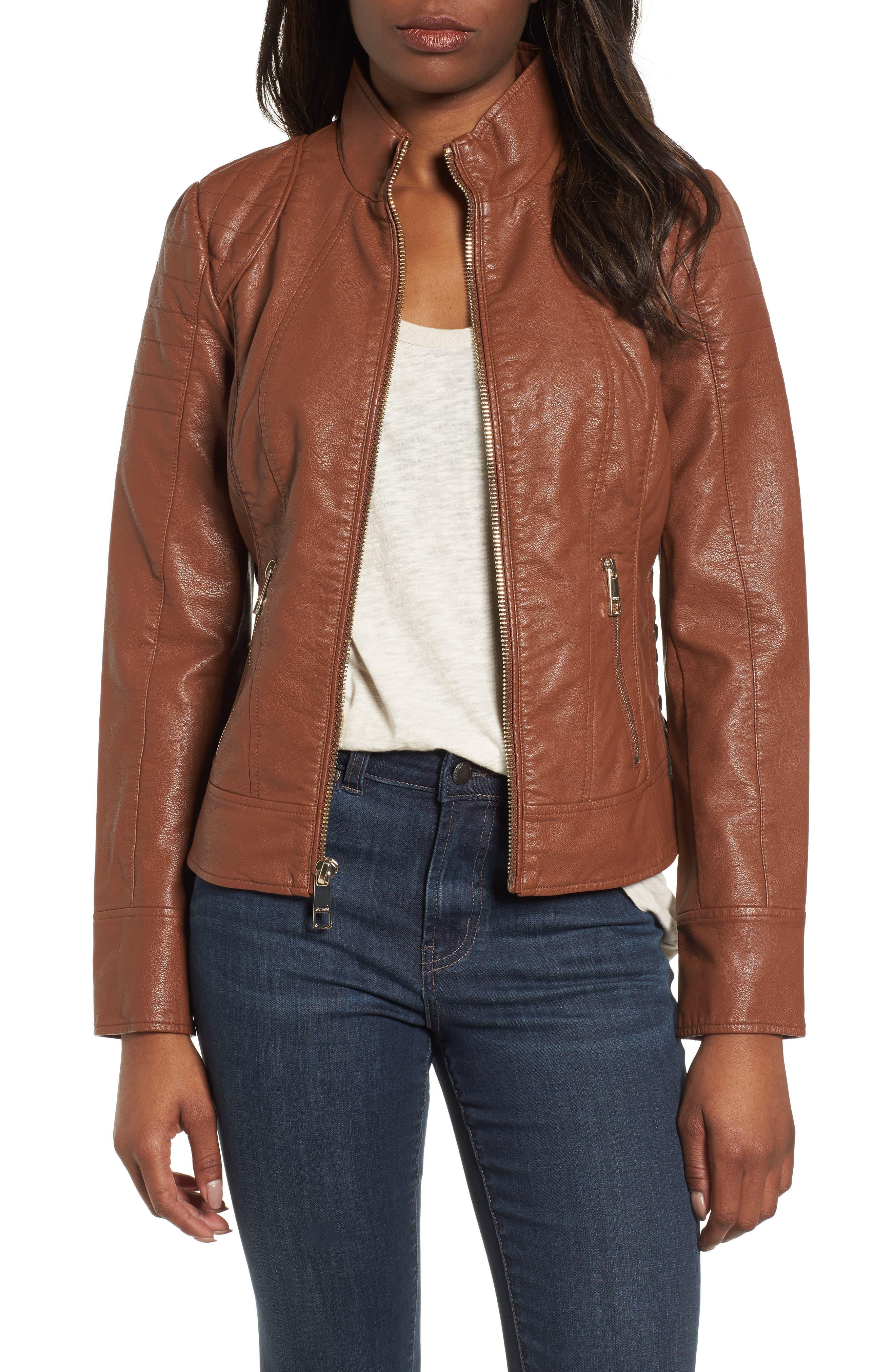 Side Lace Faux Leather Jacket,                         Main,                         color, Cognac