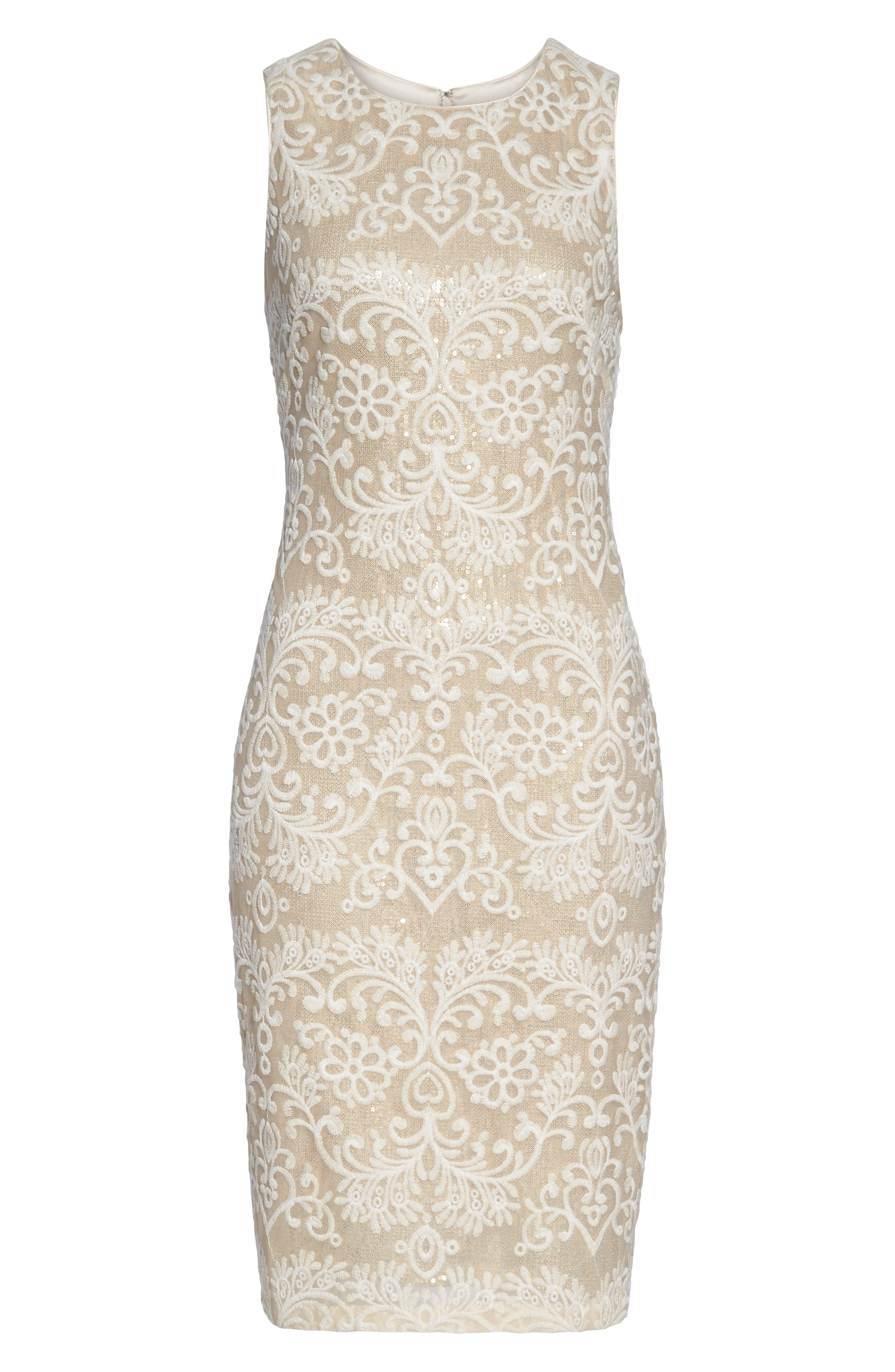 Embroidered Sequin Mesh Sheath Dress,                             Alternate thumbnail 6, color,                             Ivory/ Gold