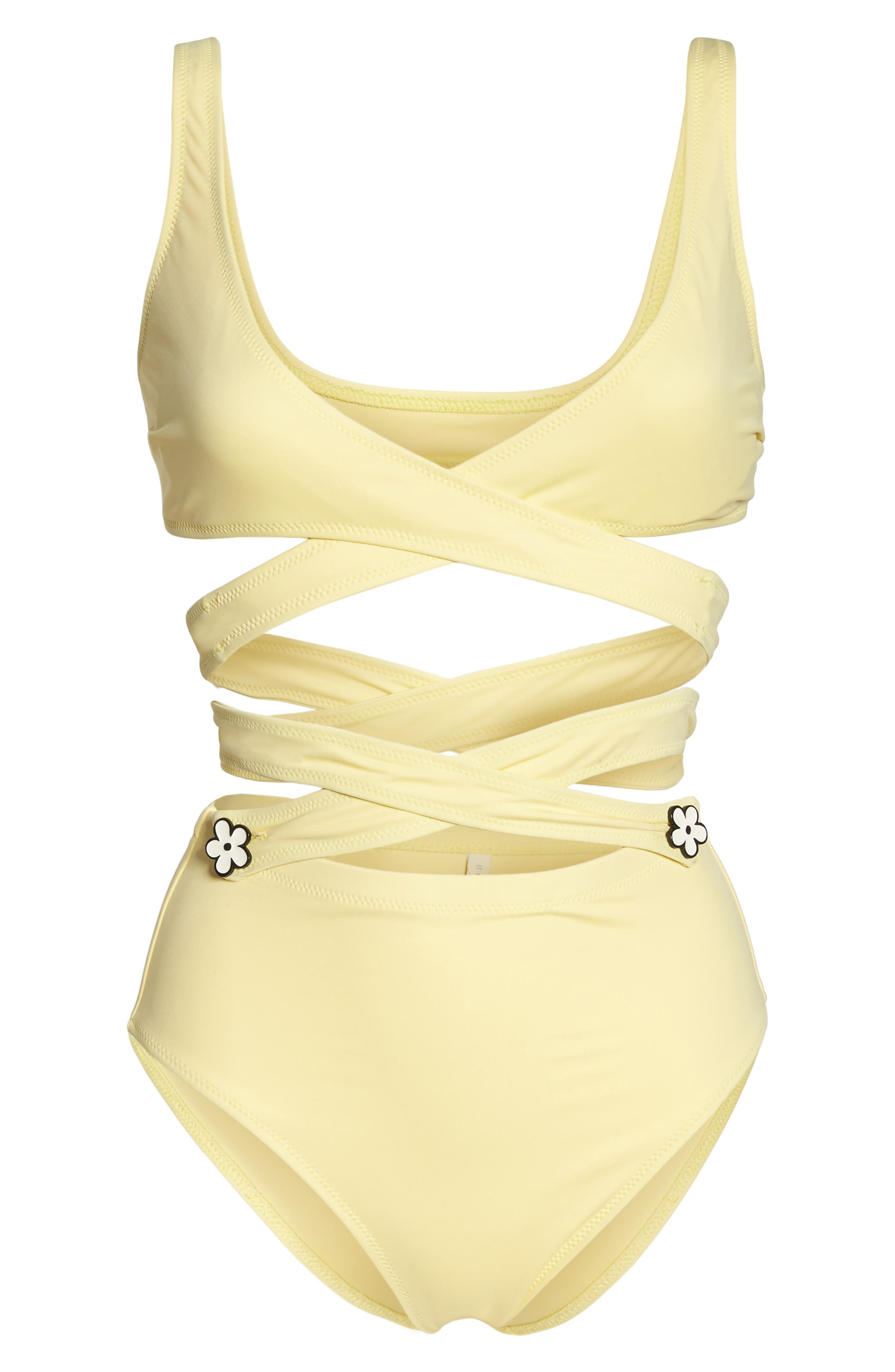 The Lauren Strappy One-Piece Swimsuit,                             Alternate thumbnail 6, color,                             Yellow