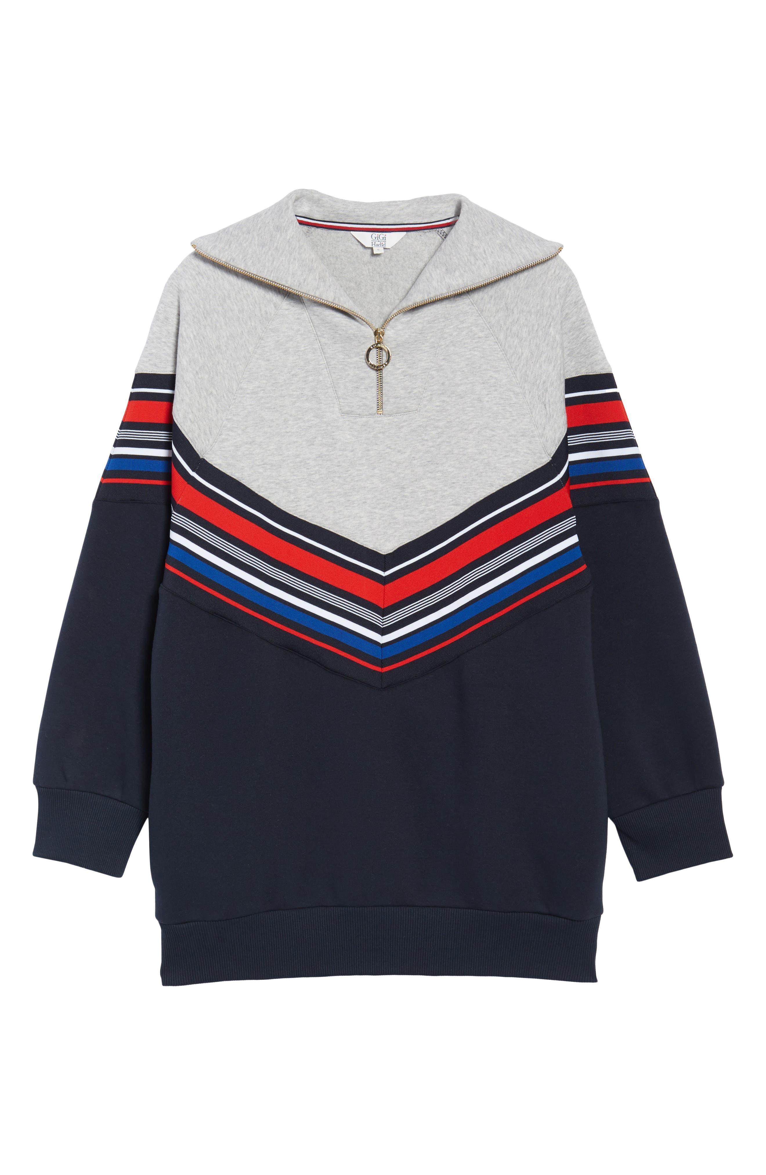 x Gigi Hadid Racing Sweatshirt Dress,                             Alternate thumbnail 6, color,                             Midnight/ Hthr