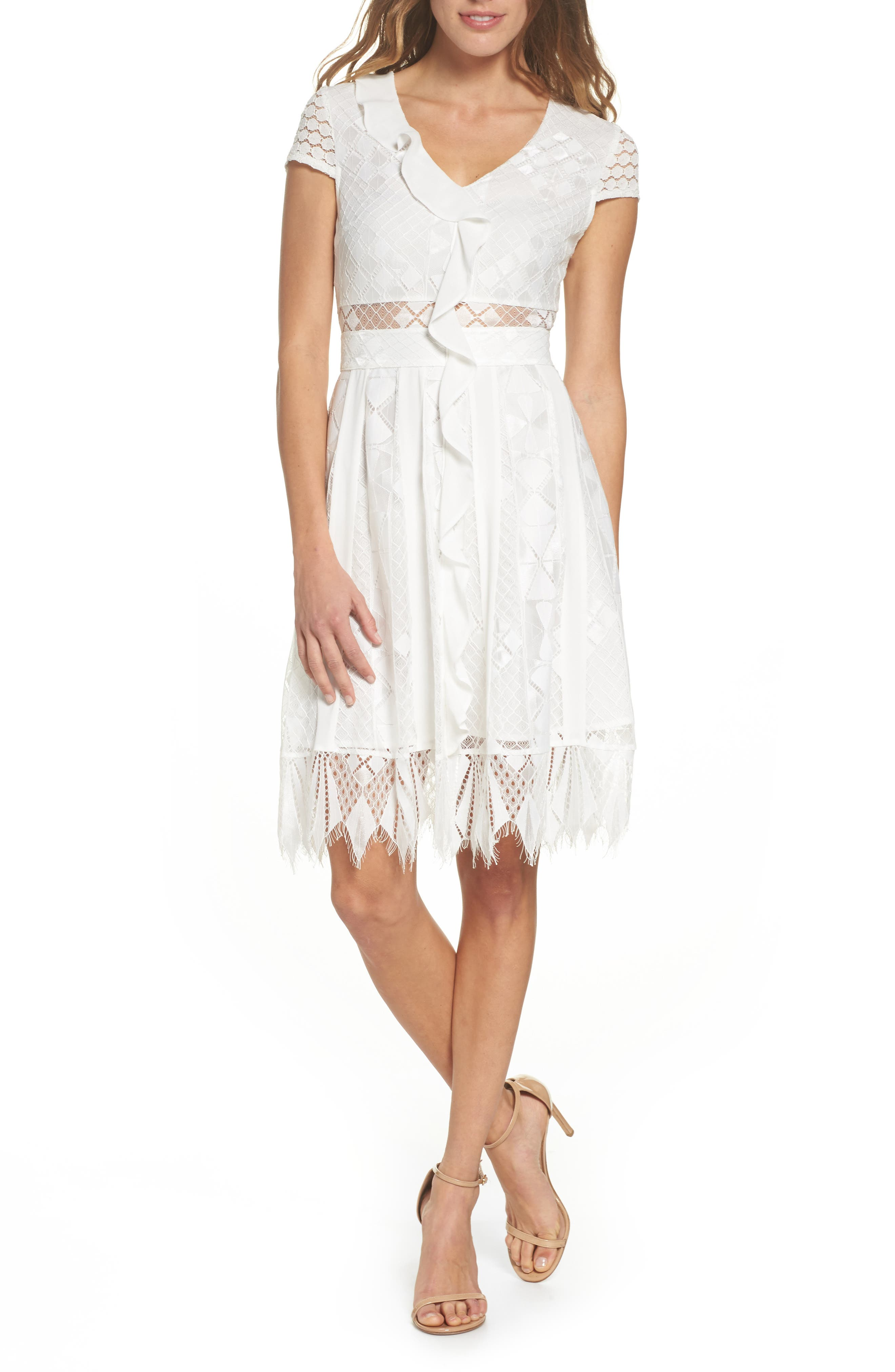 Florence Geo Lace Fit & Flare Dress,                             Main thumbnail 1, color,                             White