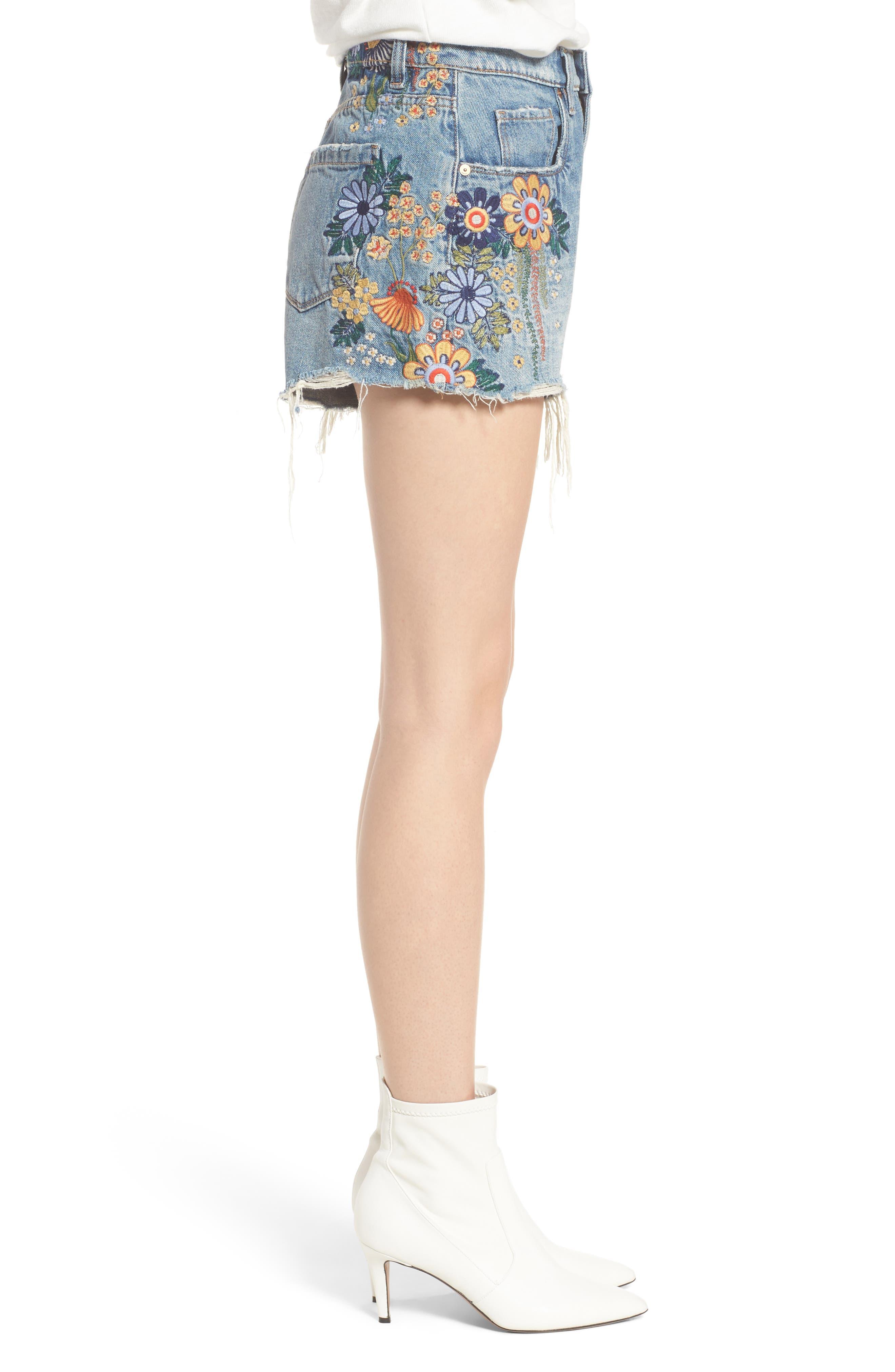 Sonic Bloom Embroidered Denim Shorts,                             Alternate thumbnail 3, color,                             Blue