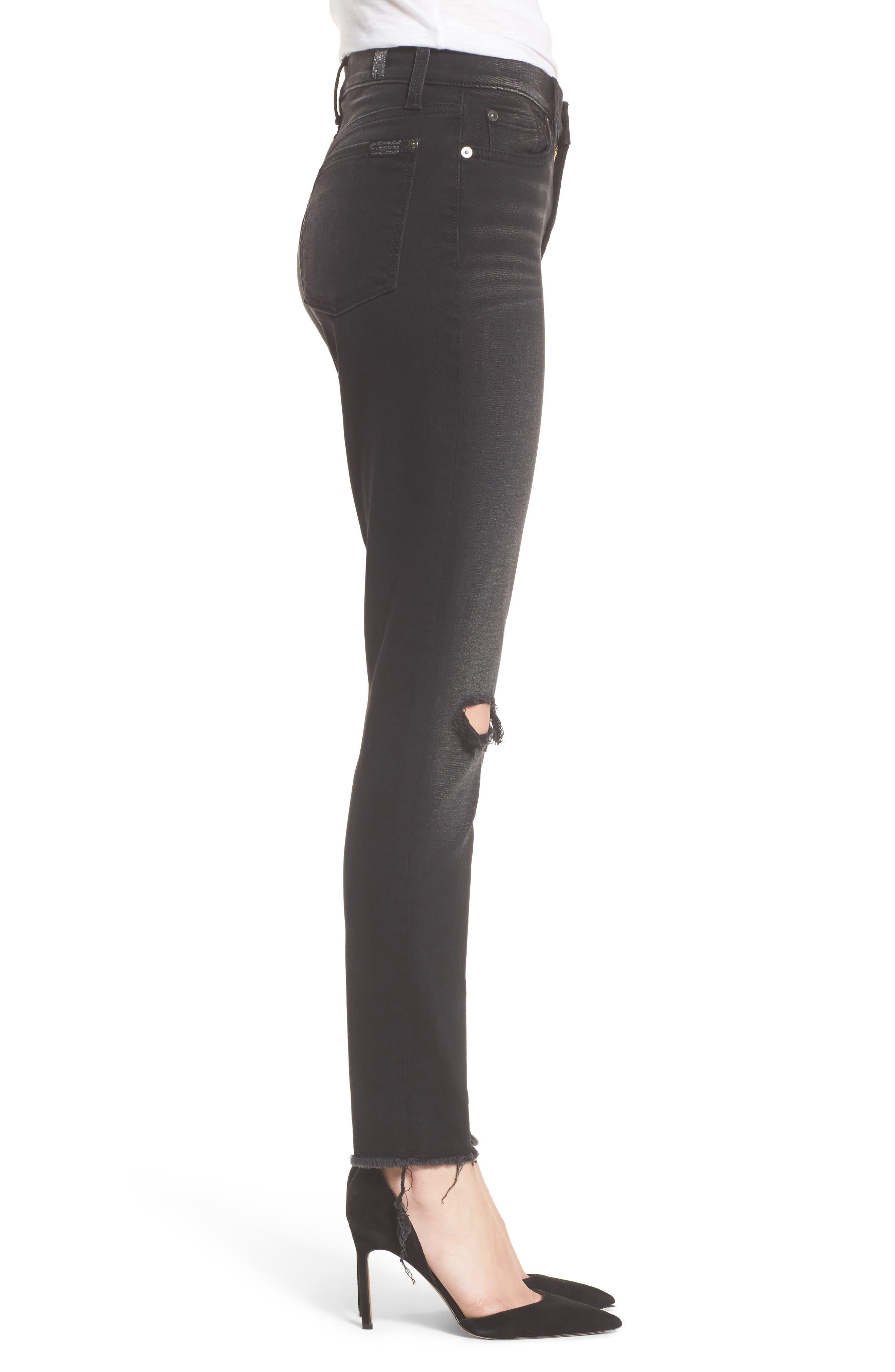 Alternate Image 3  - 7 For All Mankind® Aubrey High Waist Skinny Jeans (Aged Onyx 3)