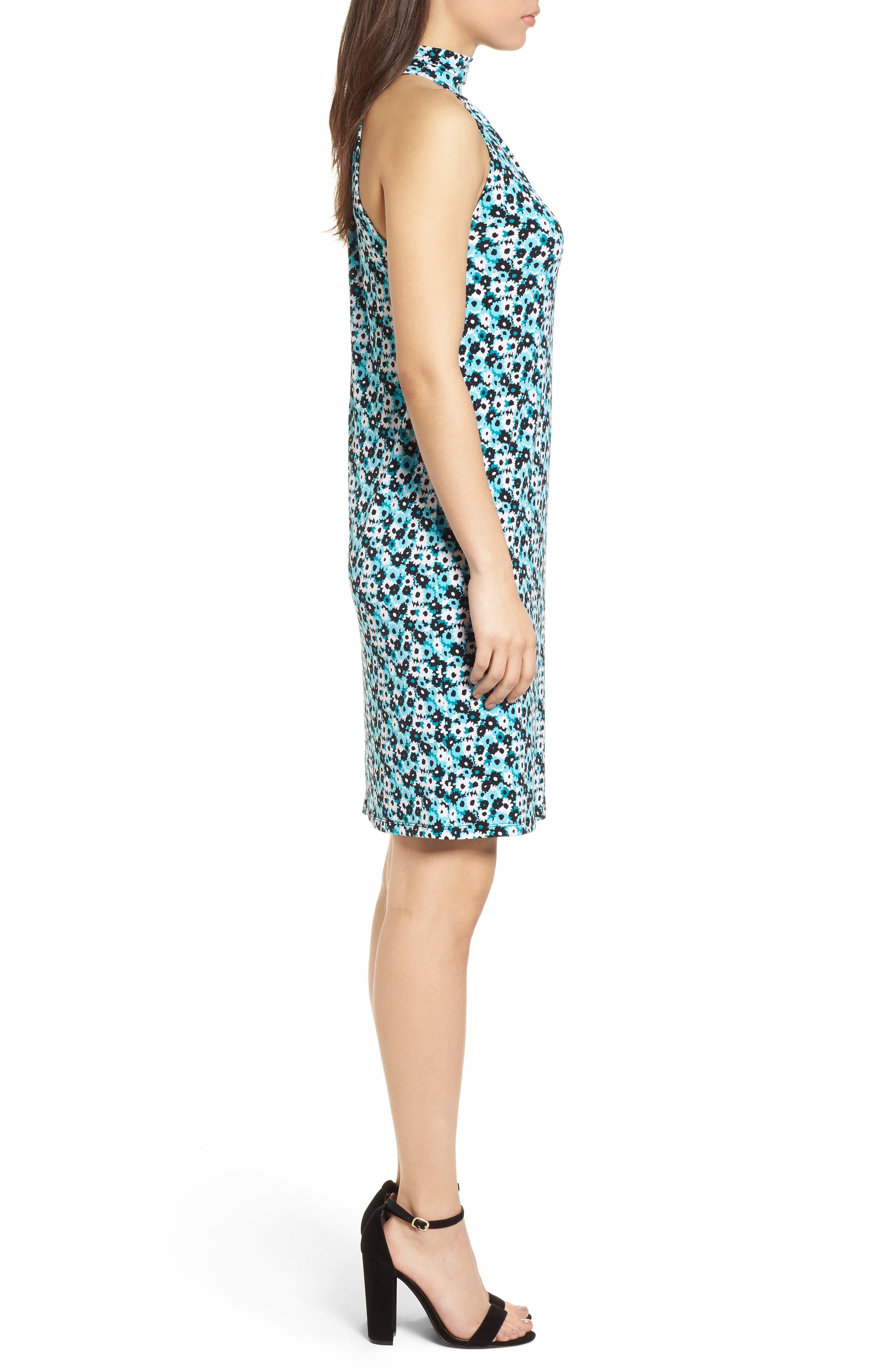 Carnation Sleeveless Dress,                             Alternate thumbnail 3, color,                             Tile Blue/ Black Multi