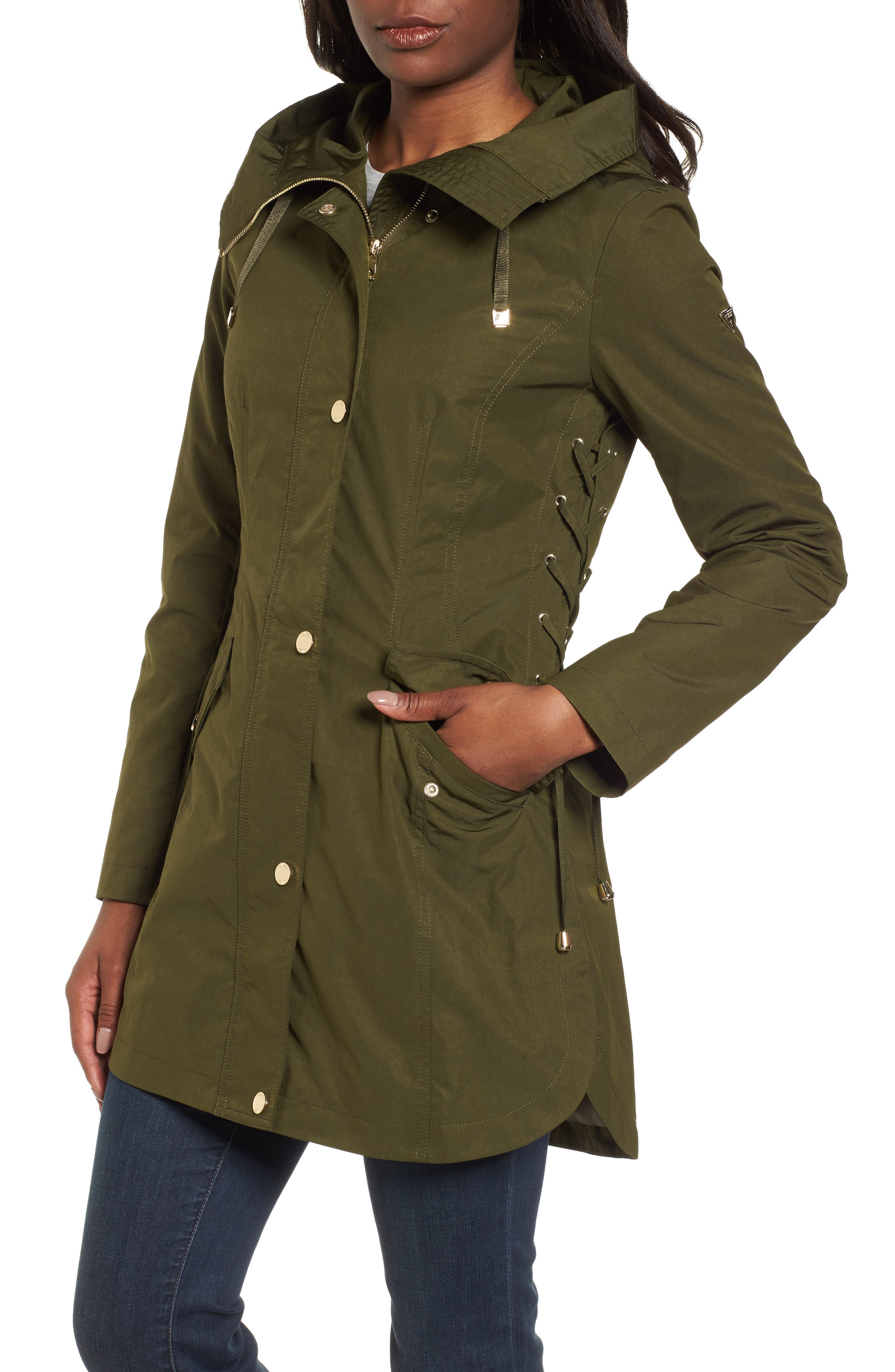 Side Lace-Up Hooded Trench Coat,                             Alternate thumbnail 4, color,                             Olive