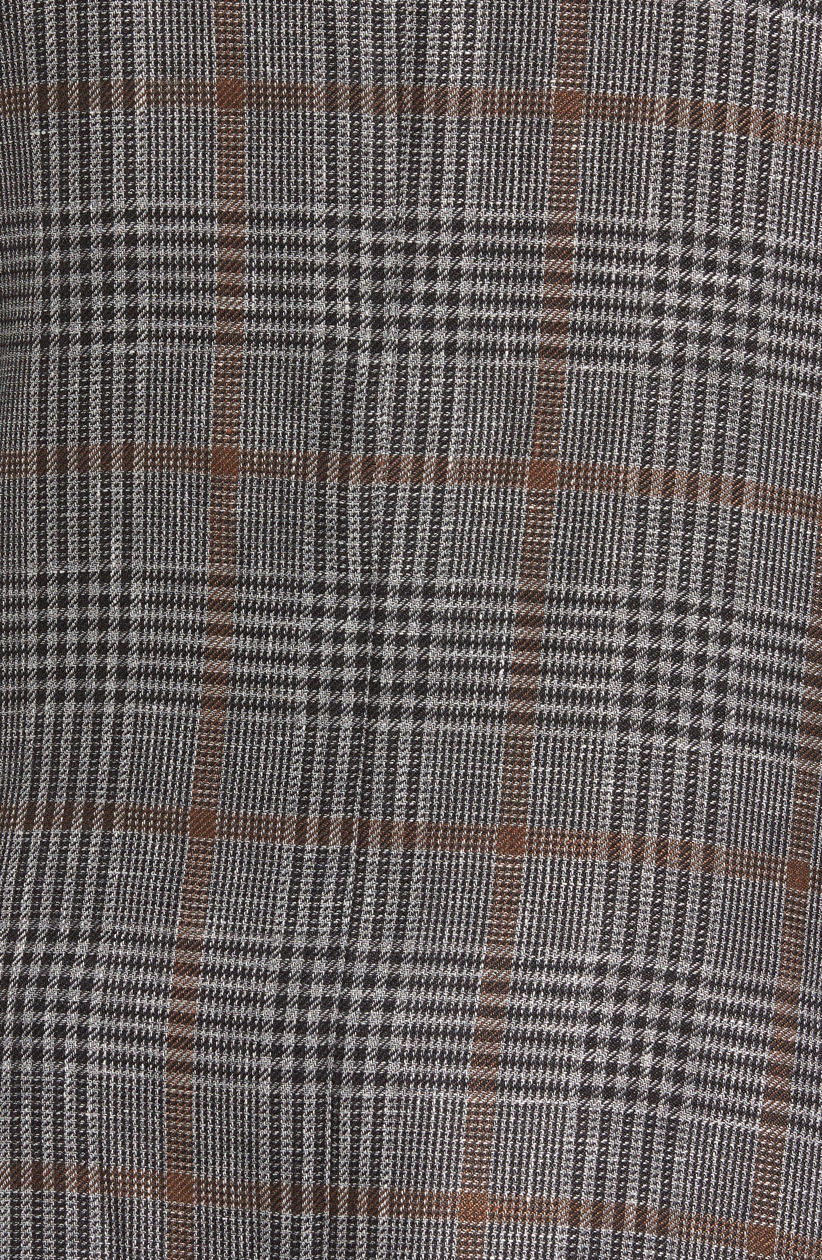 Trim Fit Plaid Linen Blend Sport Coat,                             Alternate thumbnail 5, color,                             Light Grey