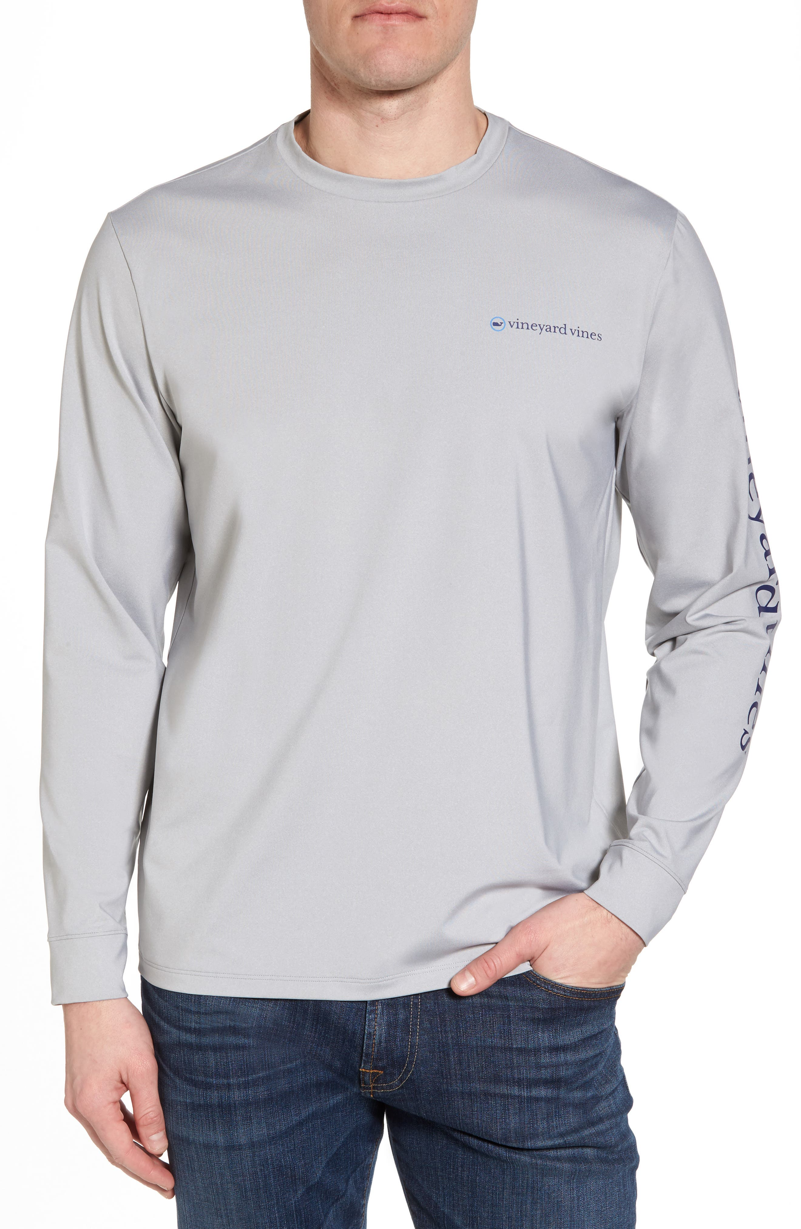Heathered Long Sleeve Performance T-Shirt,                         Main,                         color, Gray Heather