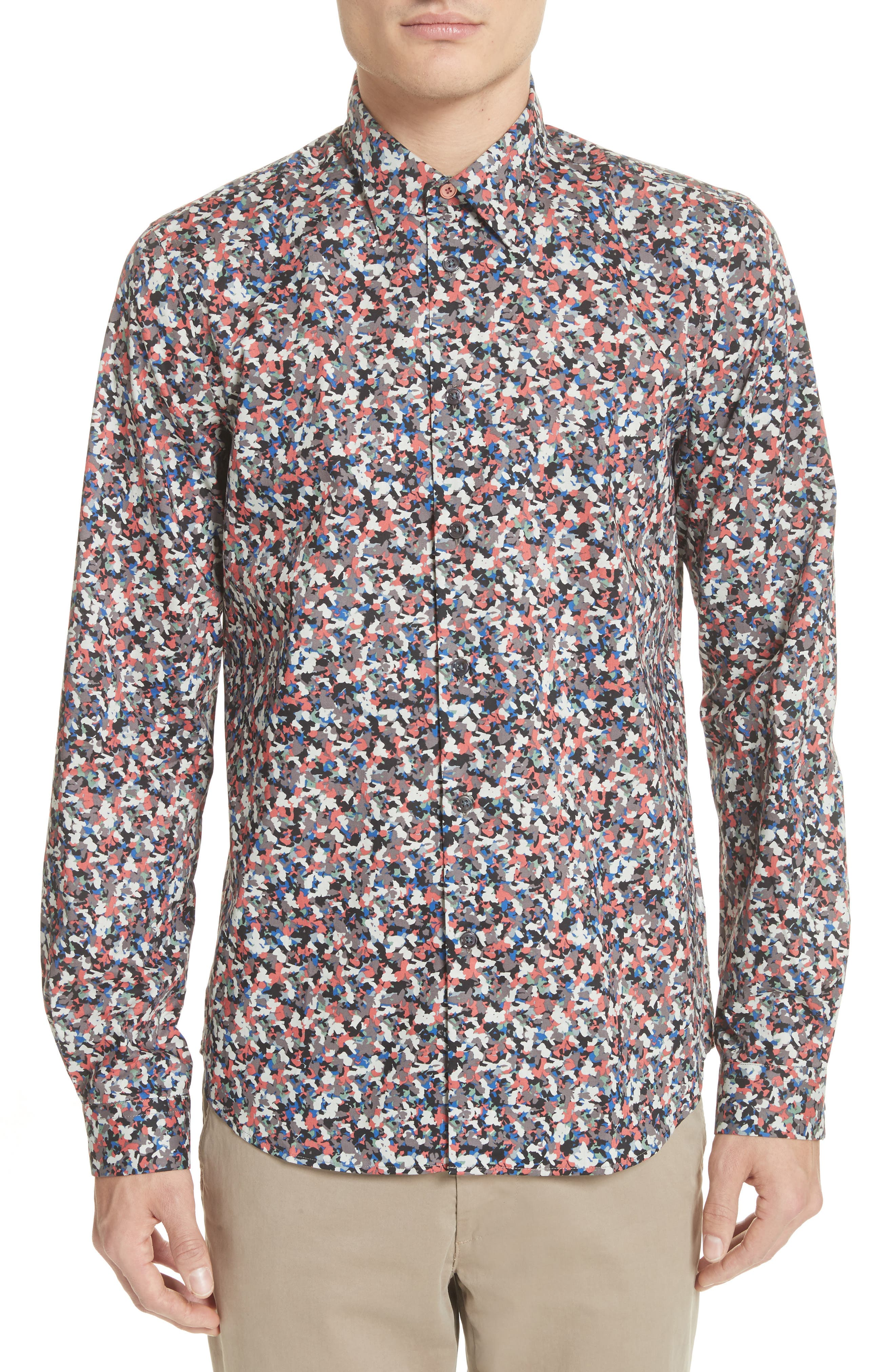 Tailored Print Shirt,                         Main,                         color, Red