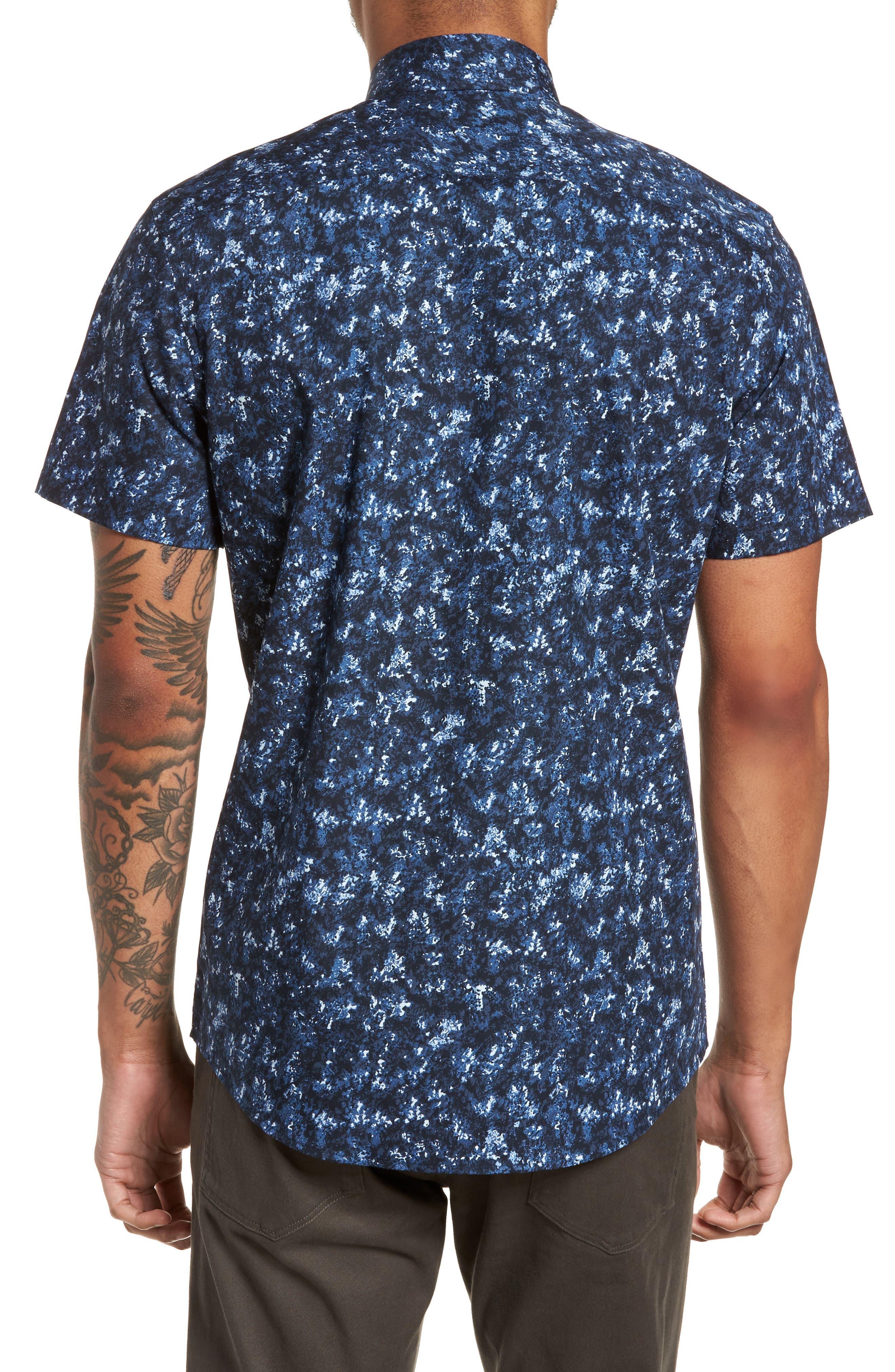 Print Sport Shirt,                             Alternate thumbnail 3, color,                             Blue Navy Crinkle