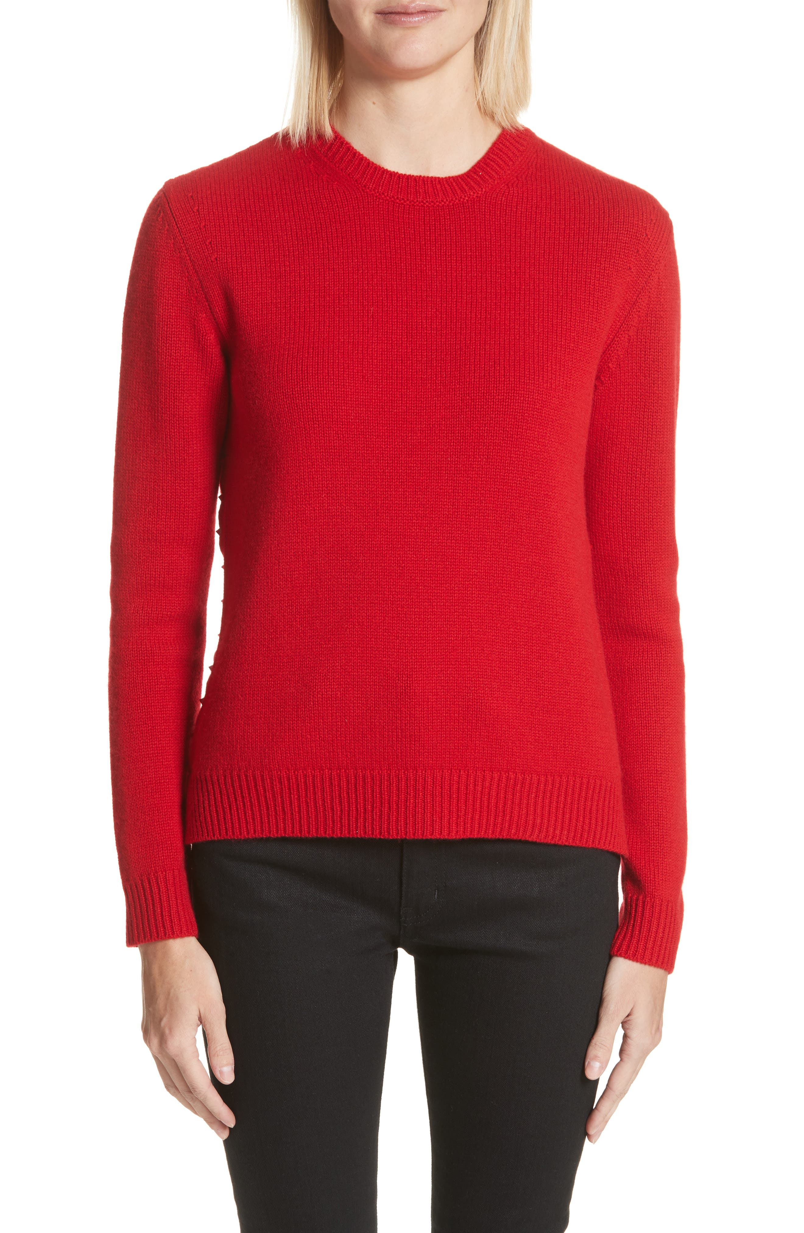 Rockstud Cashmere Sweater,                             Main thumbnail 1, color,                             Red