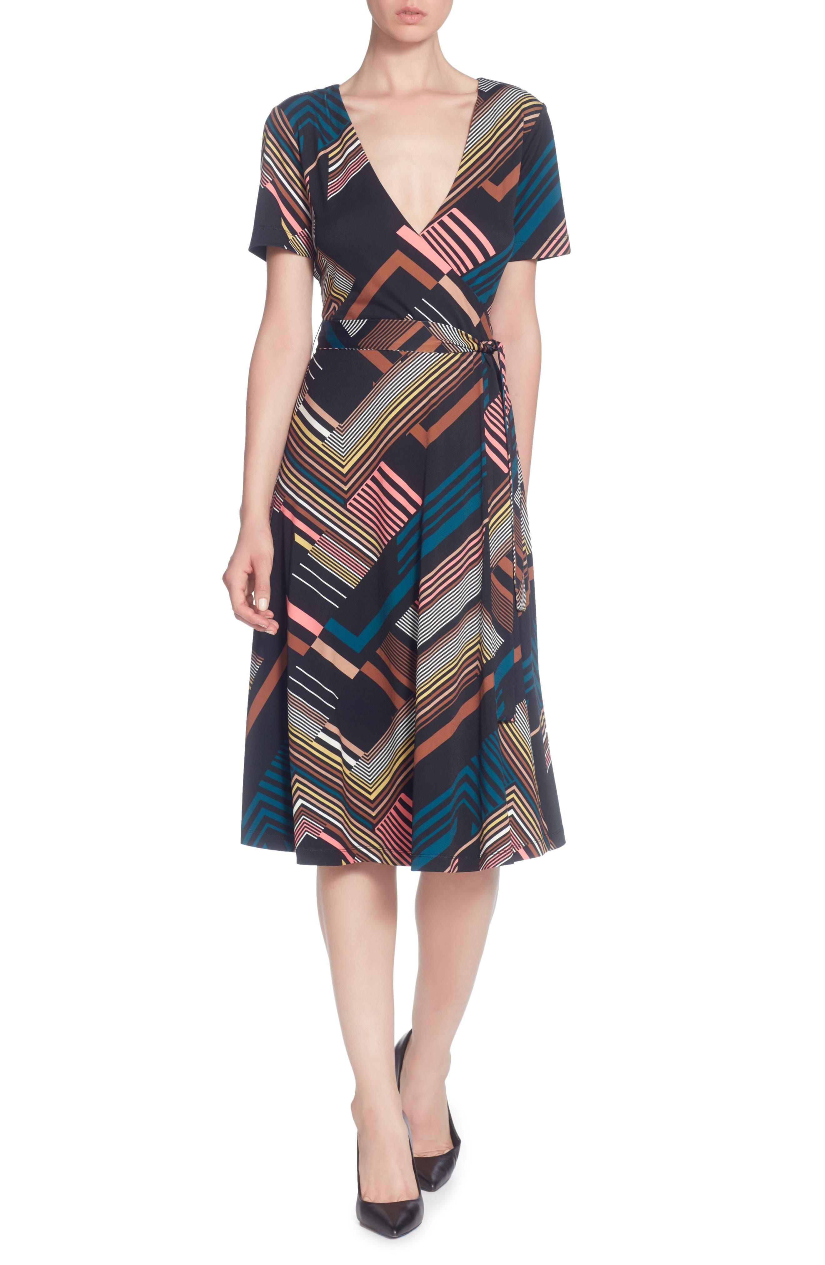 Taral Print Faux Wrap Dress,                         Main,                         color, Deco Stripe