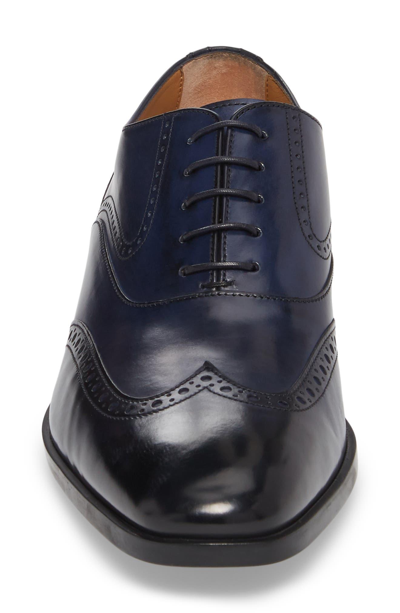 Portland Wingtip,                             Alternate thumbnail 4, color,                             Dark Blue Leather