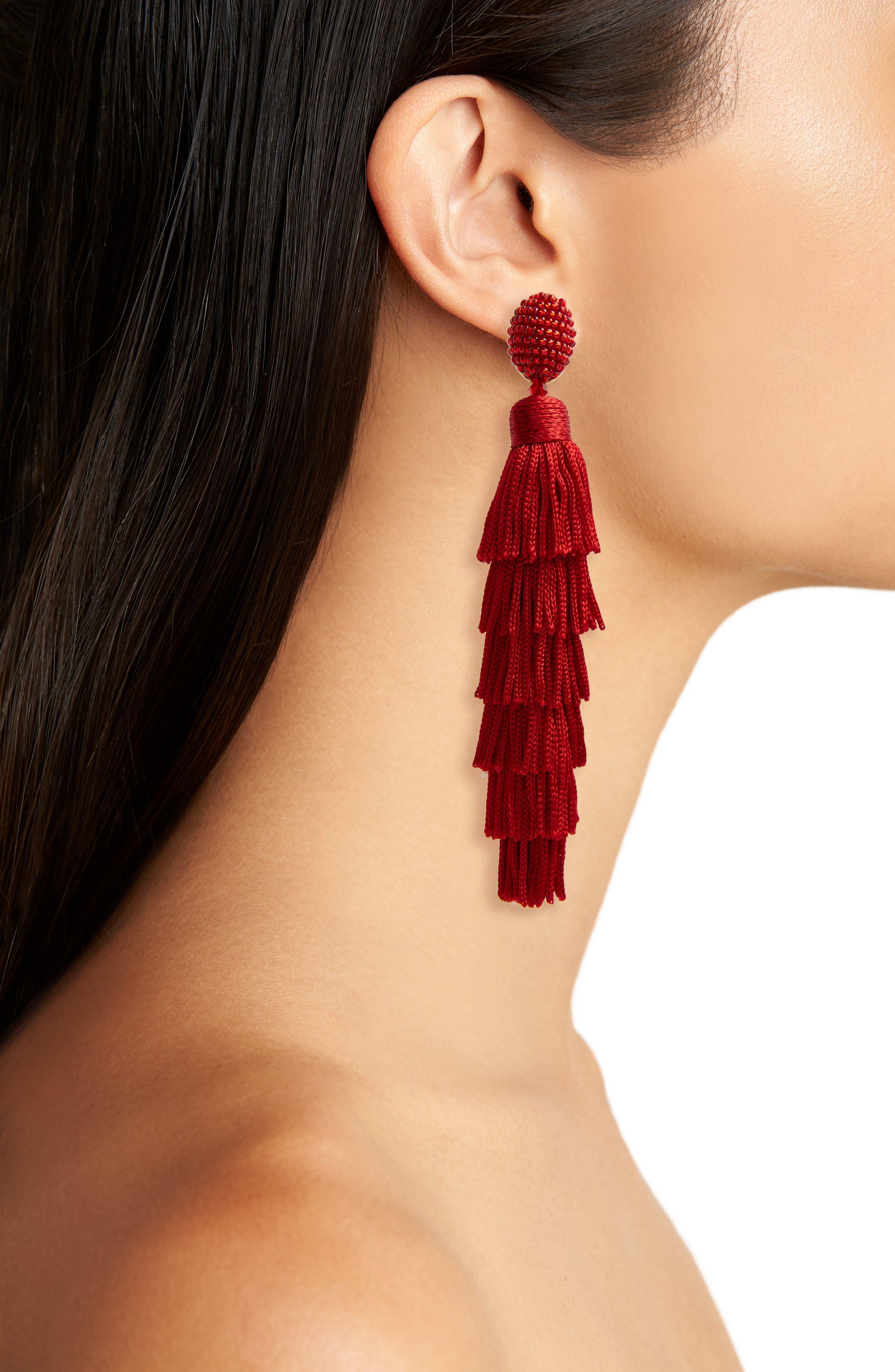 Alternate Image 2  - Oscar de la Renta Tassel Clip Earrings