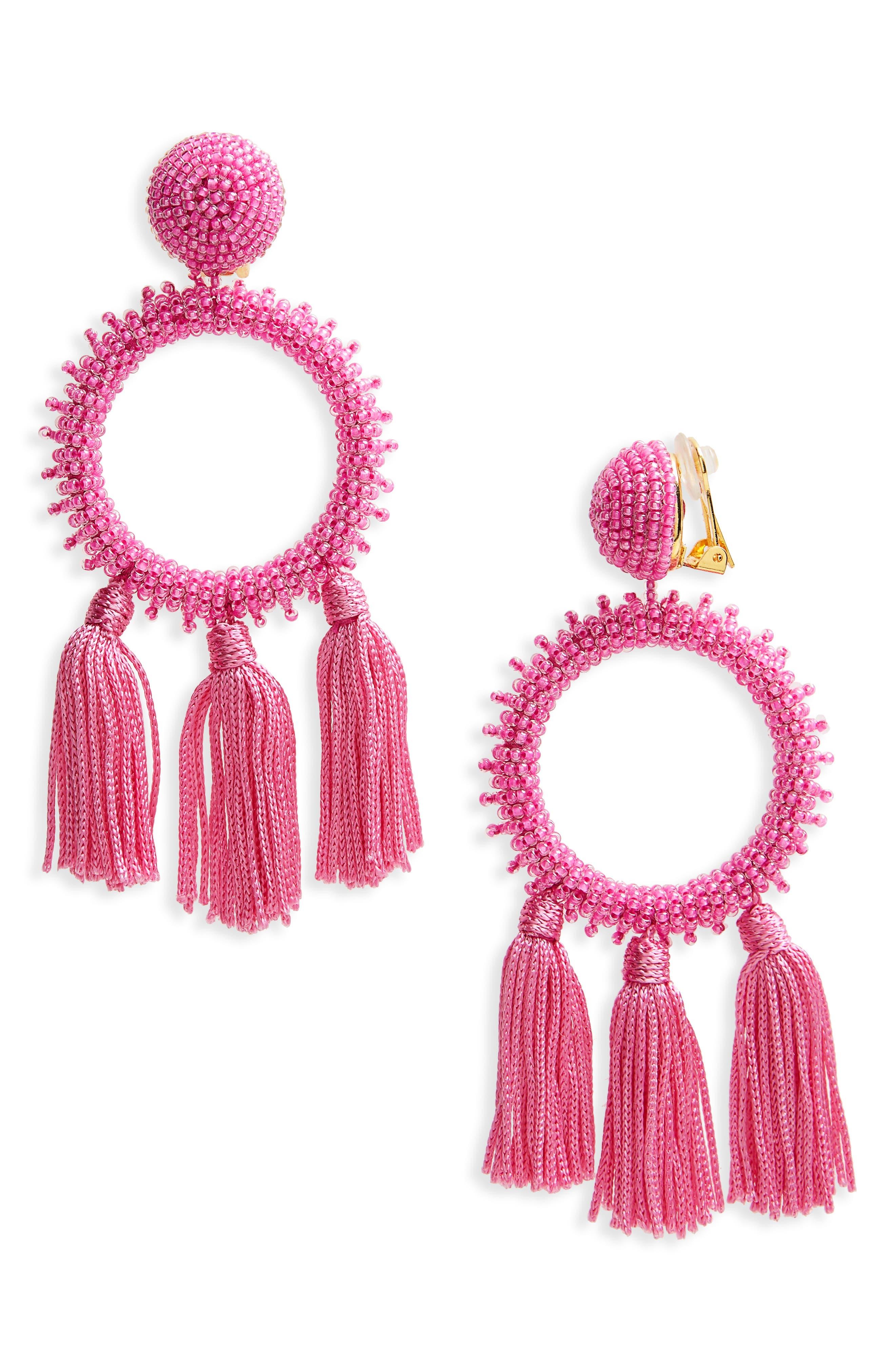 Oscar de la Renta Clip Beaded Drop Earrings