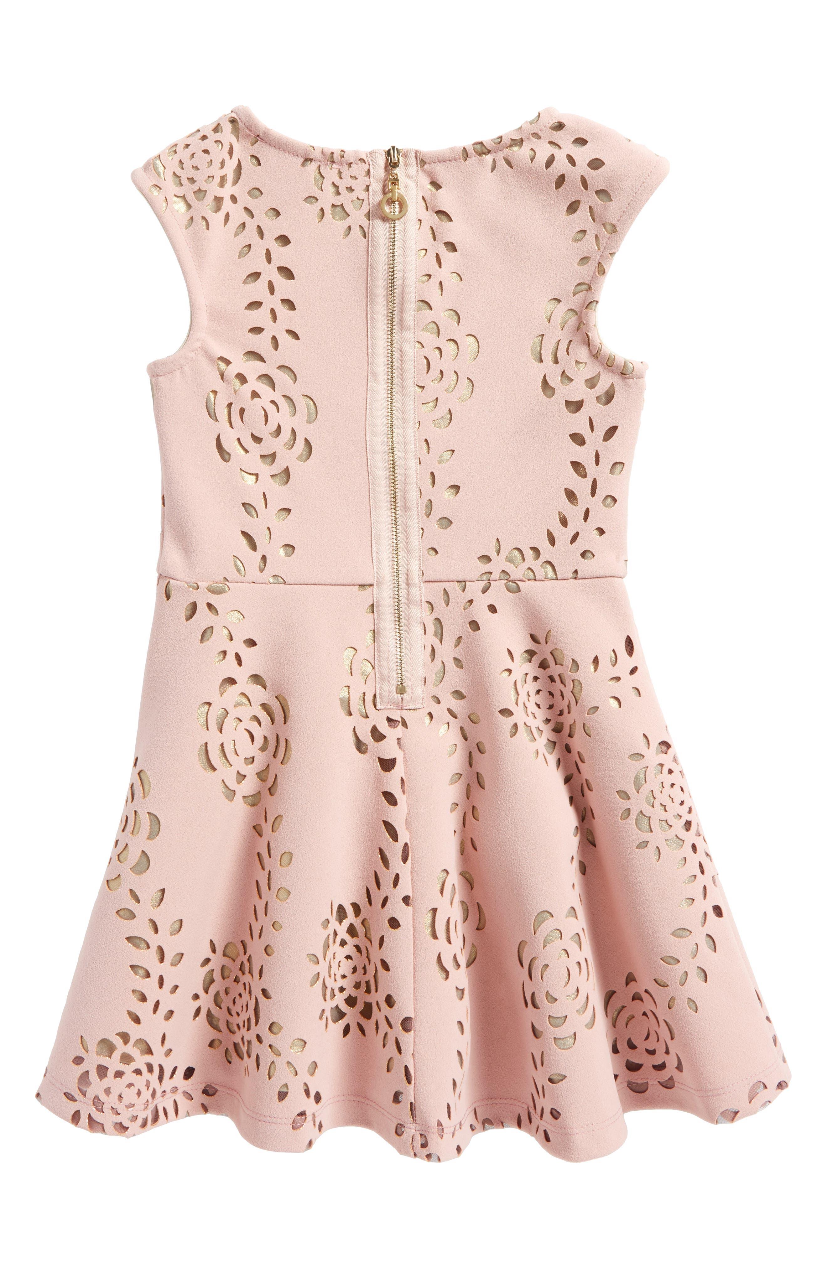Laser Cut Scuba Dress,                             Alternate thumbnail 2, color,                             Blush Gold