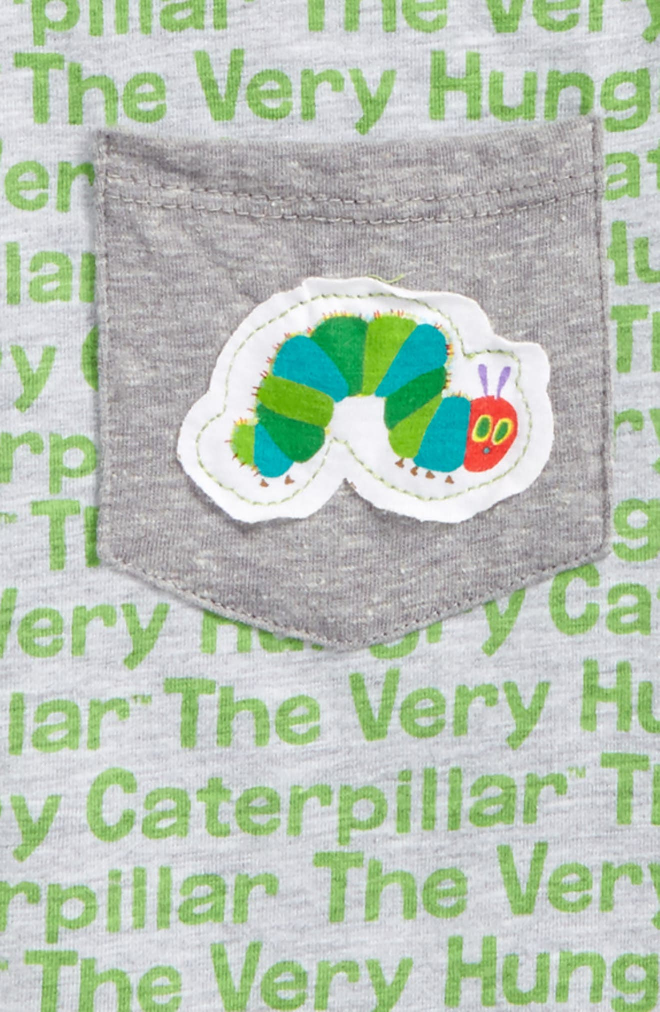 Hungry Caterpillar Print Raglan T-Shirt,                             Alternate thumbnail 2, color,                             Heather Grey