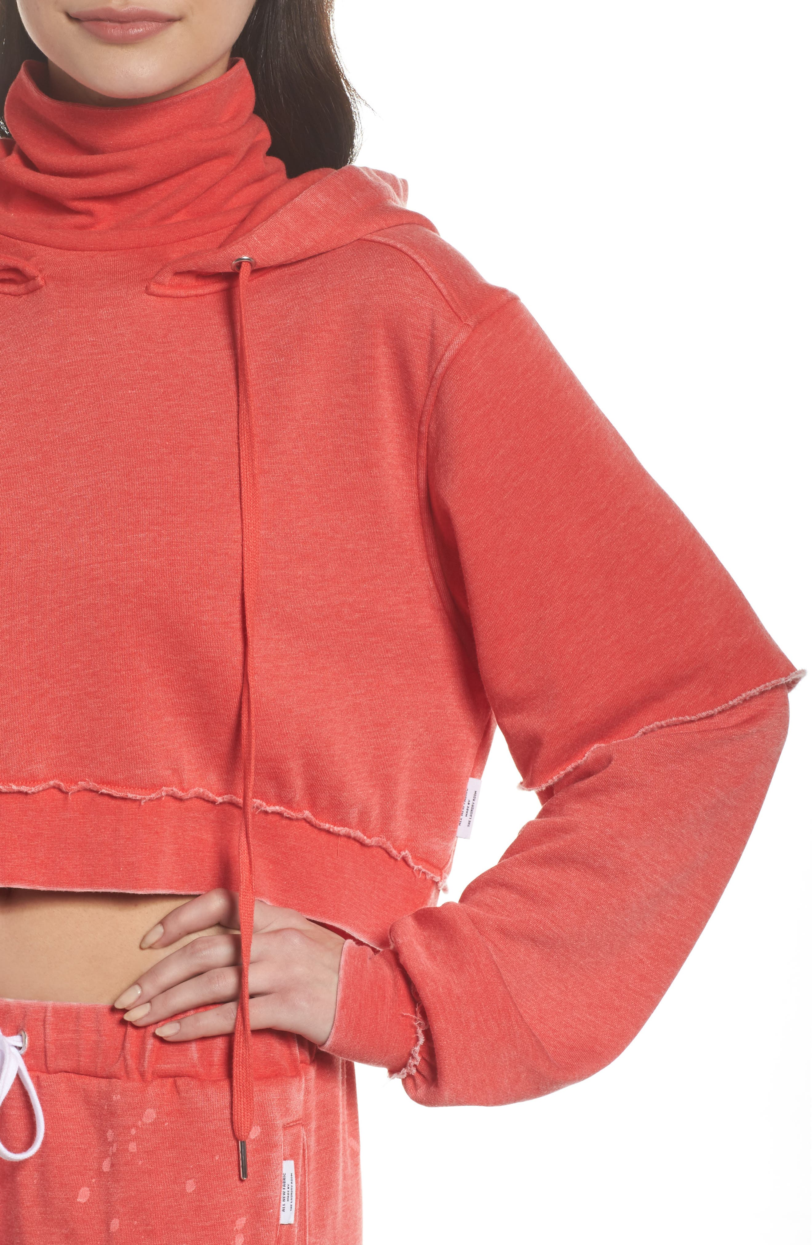 Good Hood Crop Hoodie,                             Alternate thumbnail 5, color,                             Love Red/ White