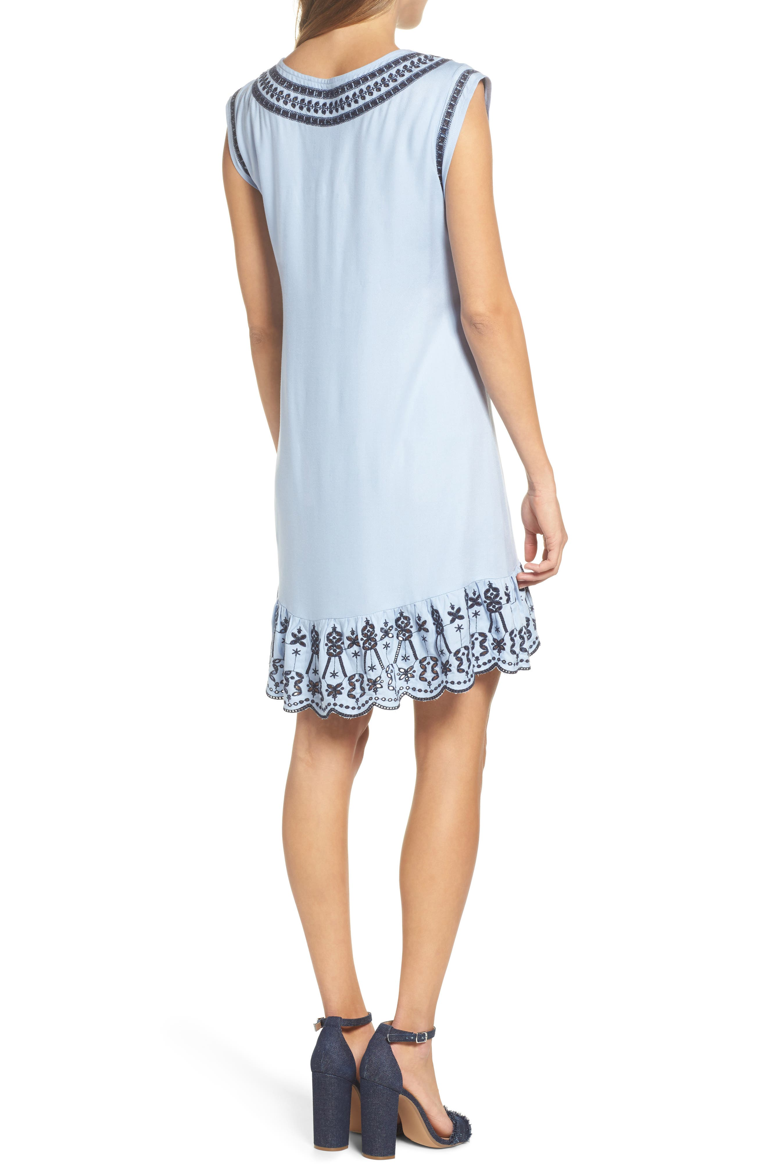 Embroidered Lace-Up Dress,                             Alternate thumbnail 2, color,                             Cyanide
