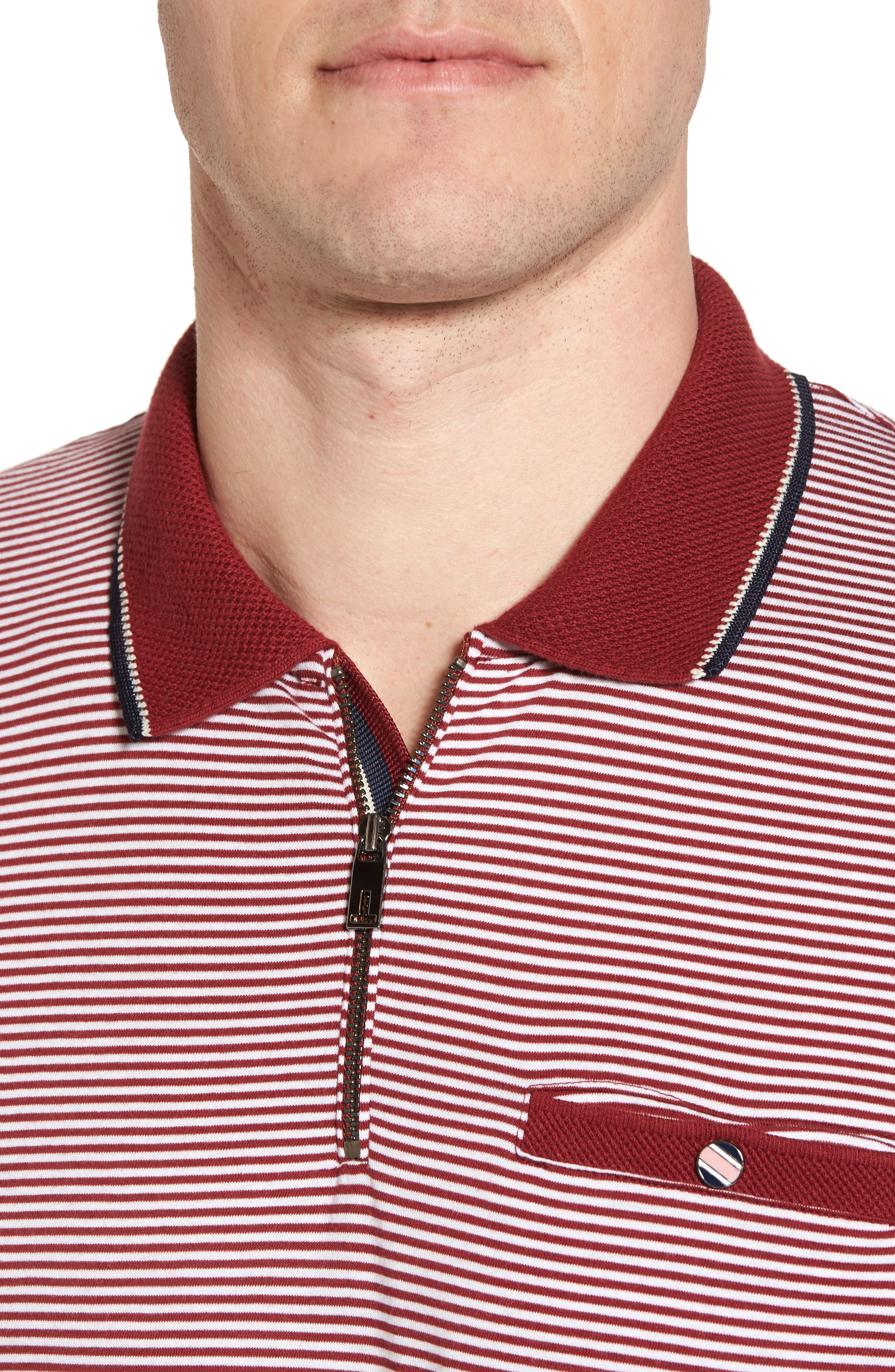 Whiptt Trim Fit Zip Polo,                             Alternate thumbnail 4, color,                             Dark Red
