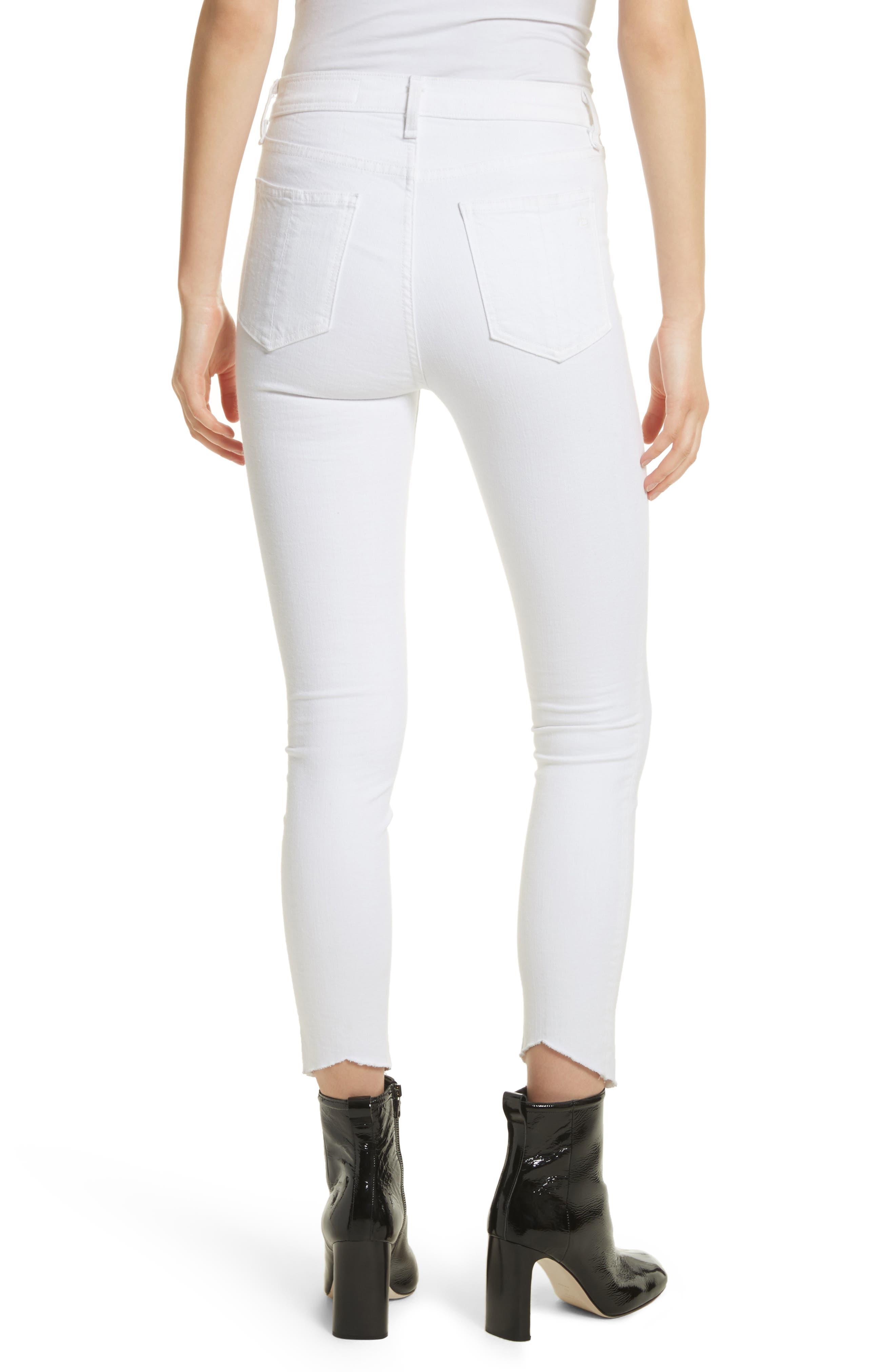 High Waist Ankle Skinny Jeans,                             Alternate thumbnail 2, color,                             White Manson